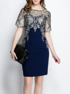 Blue with Champaign Lace