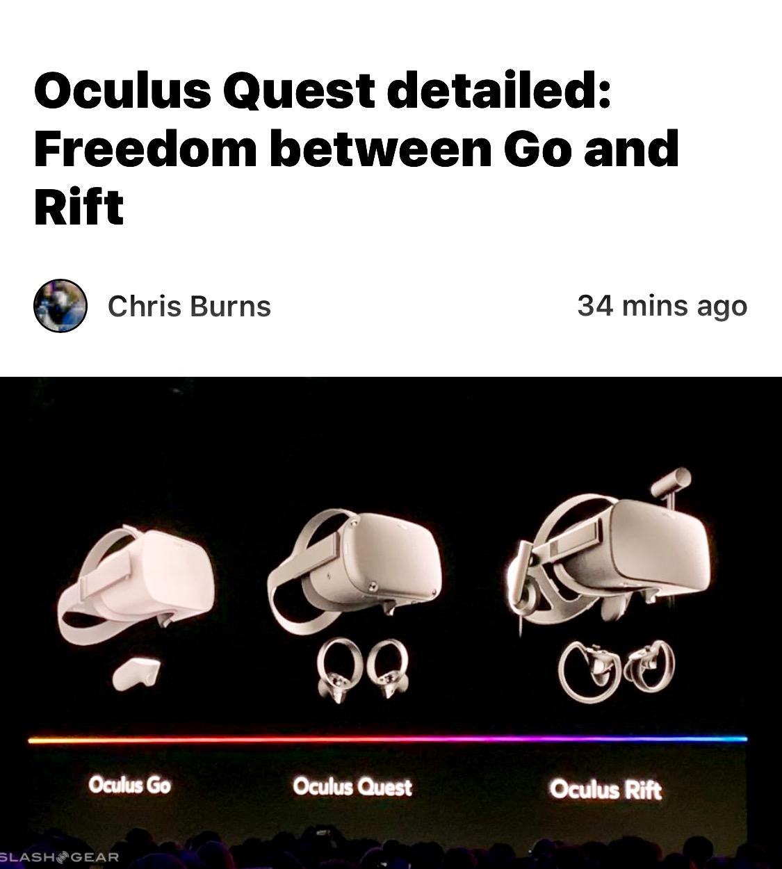Facebook Announces Oculus Quest VR Headset