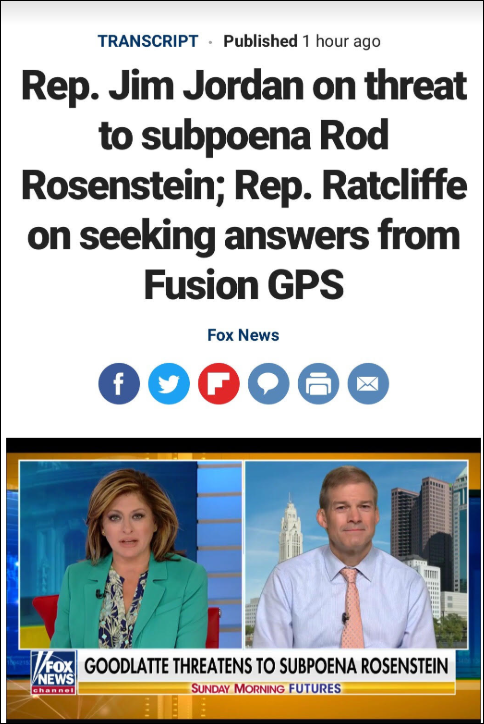 Rep. Jim Jordan Talks of Threat to Subpoena Rod Rosenstein; Rep. Ratcliffe is Seeking Answers From Fusion GPS