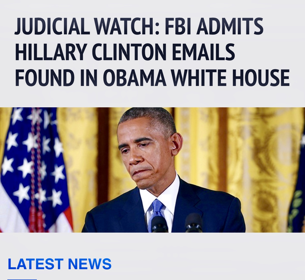 Judicial Watch: FBI Admits Hillary Clinton Emails Found in Obama White House