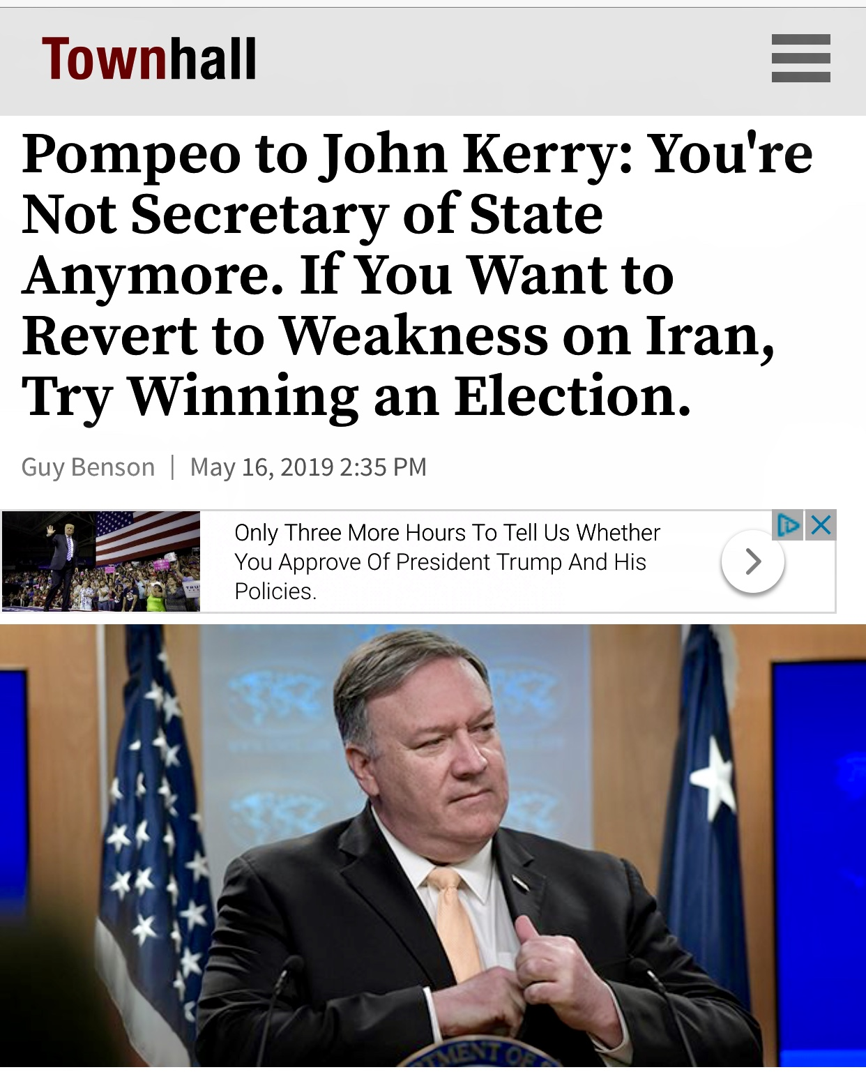 Pompeo to John Kerry: You're Not Secretary of State Anymore. If You Want to Revert to Weakness on Iran, Try Winning an Election.