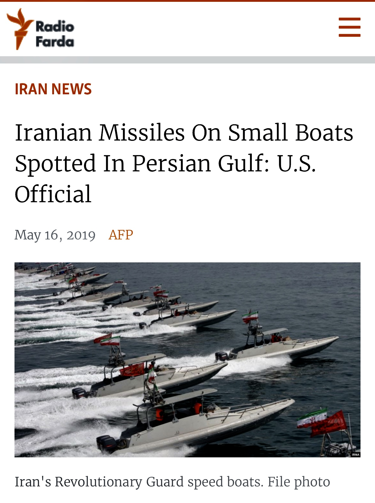 Iranian Missiles On Small Boats Spotted In Persian Gulf: U.S. Official