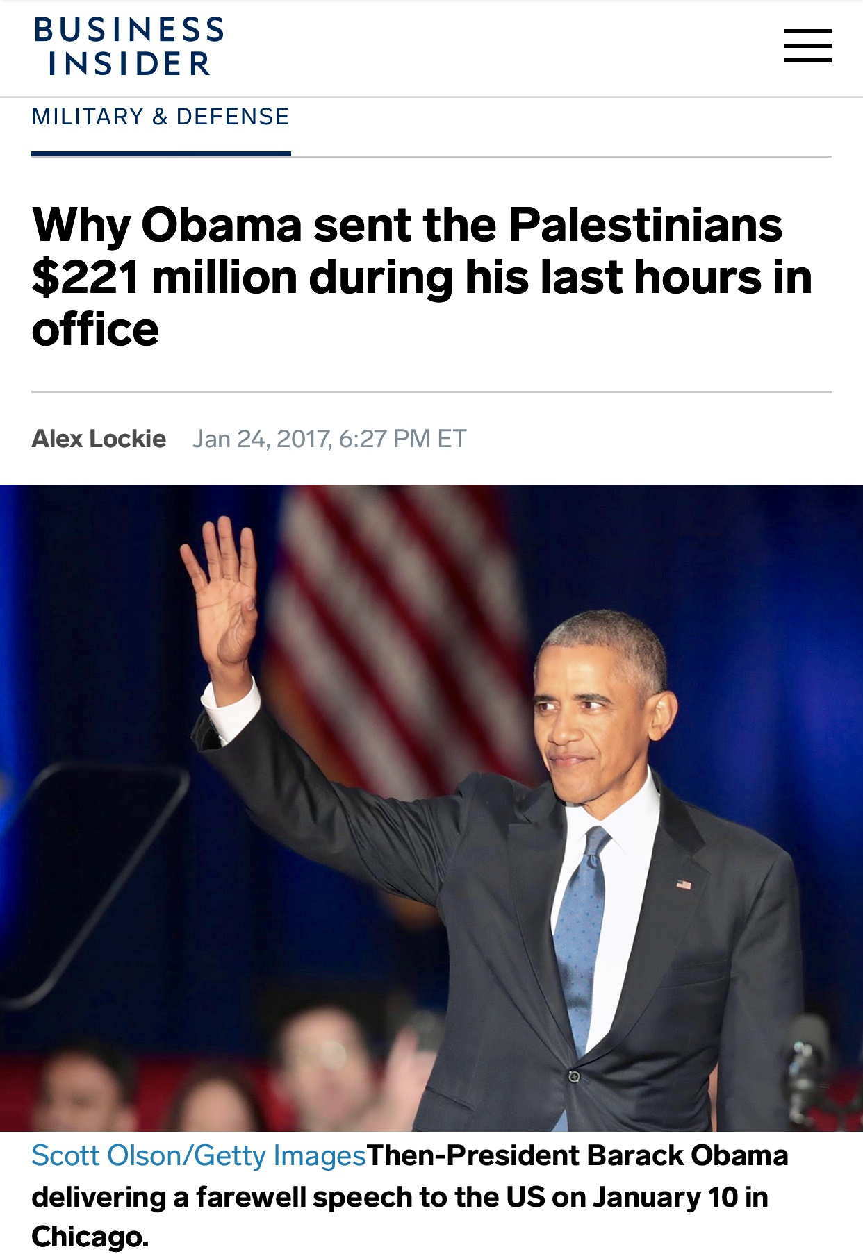 Why Obama sent Palestinians $221 million in his last hours in office