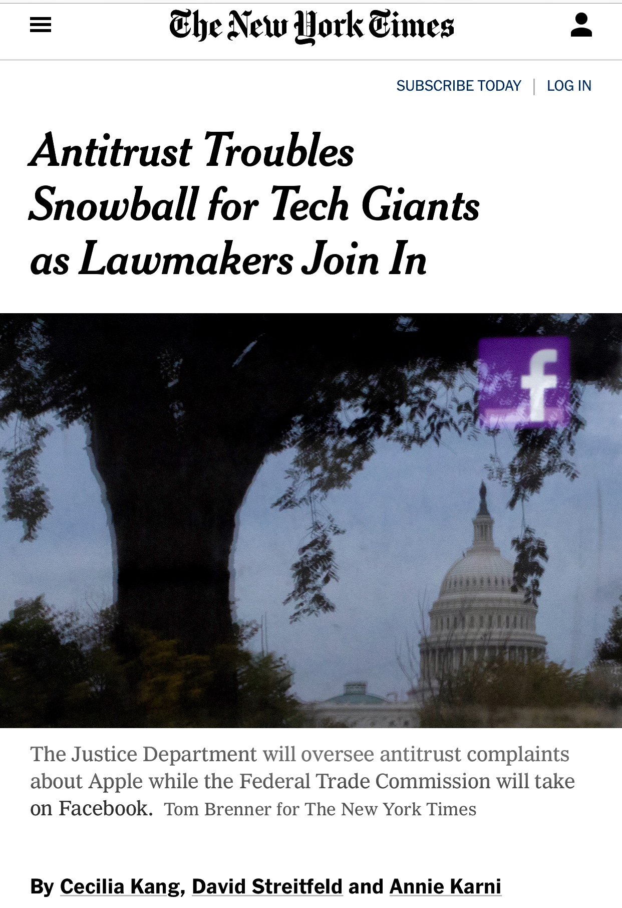 Antitrust Troubles Snowball for Tech Giants as Lawmakers Join In – The New York Times