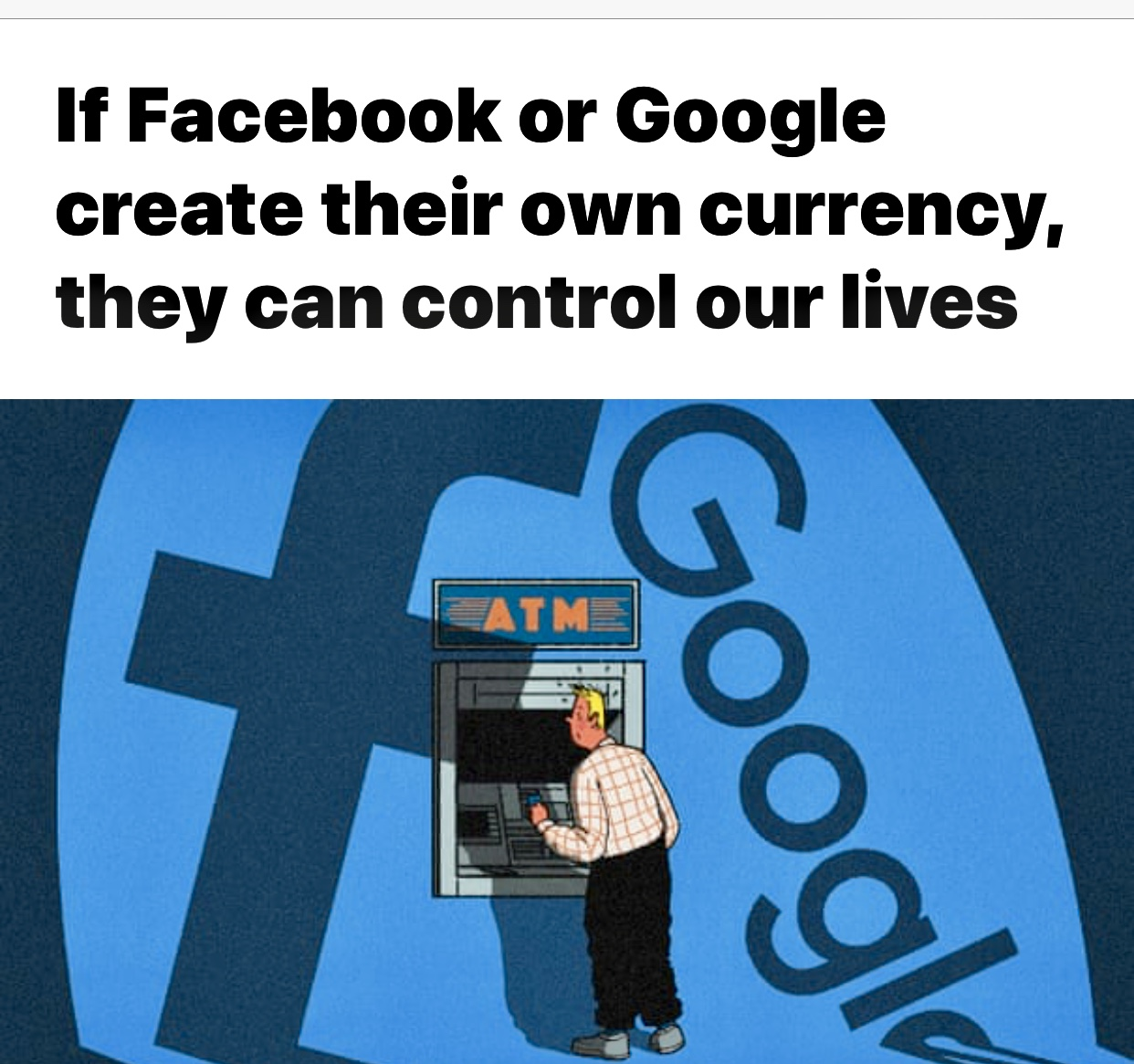 If Facebook or Google create their own currency, they can control our lives | Facebook | The Guardian