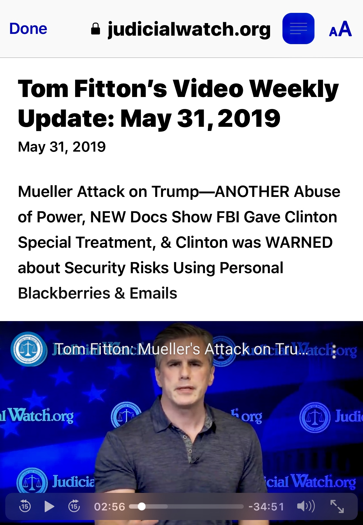 Tom Fitton's Video Weekly Update: May 31, 2019 – Judicial Watch