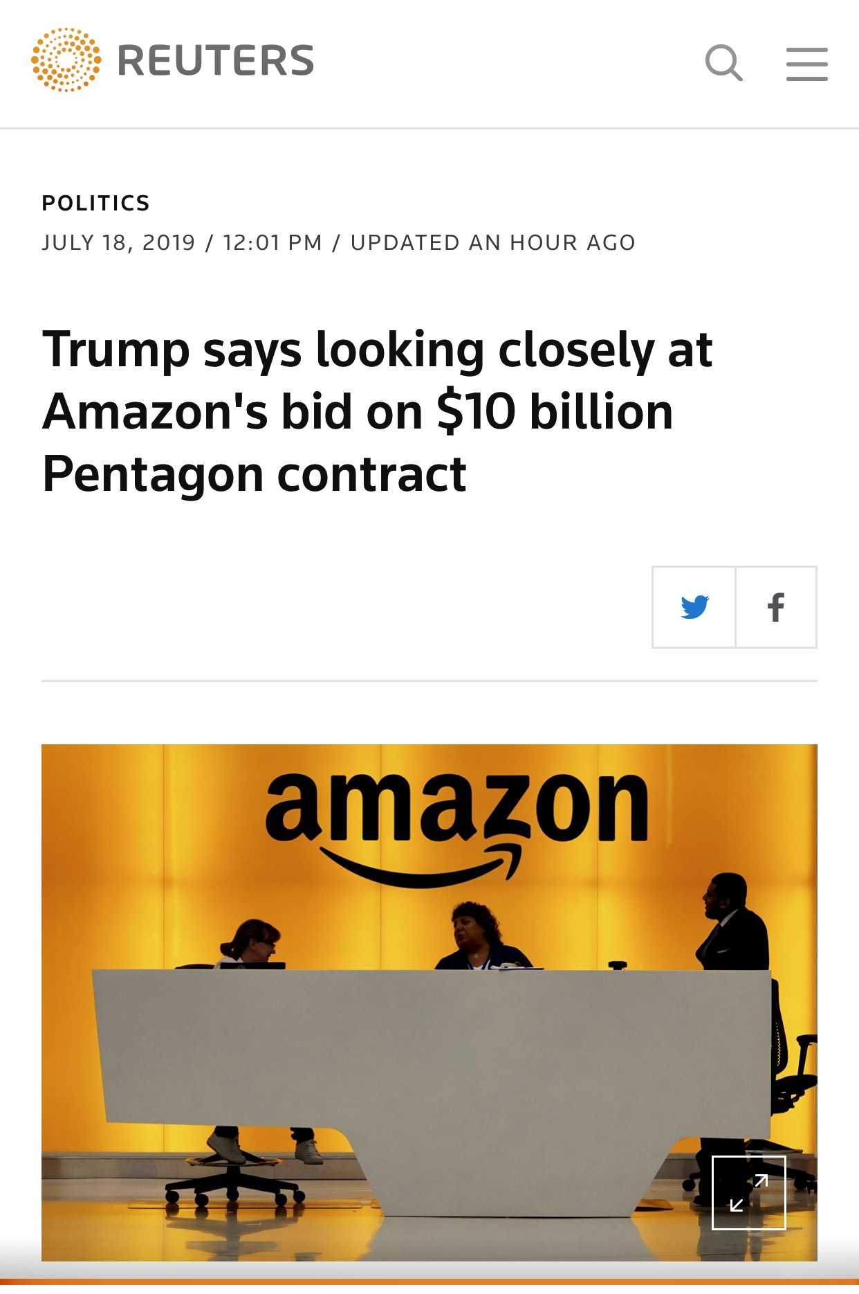 President Trump is looking closely at Amazon's bid on $10 billion Pentagon contract – Reuters