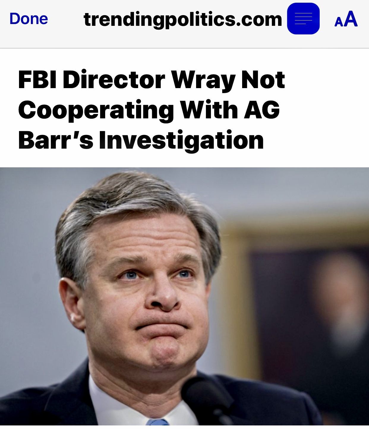 FBI Director Wray Not Cooperating With AG Barr's Investigation Continues to Coverup for Comey