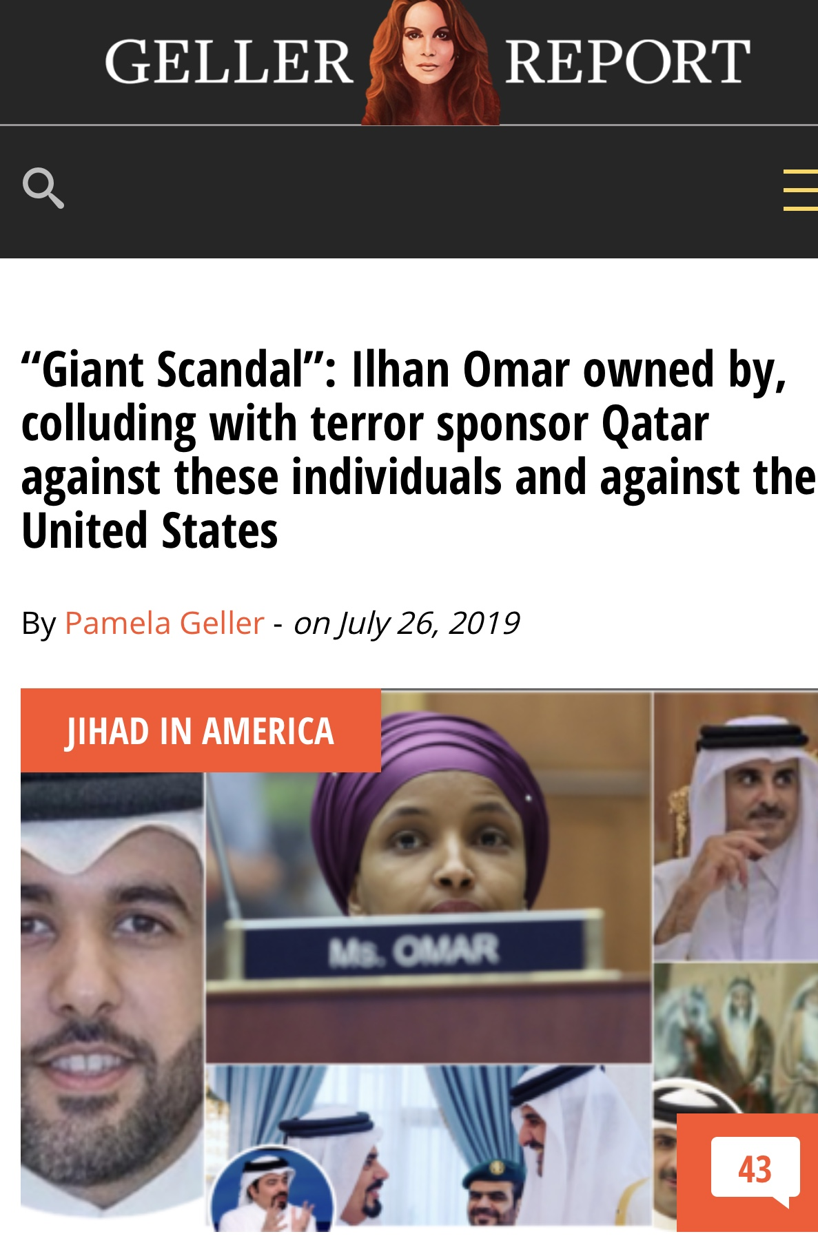 """Giant Scandal"": Ilhan Omar owned by, colluding with terror sponsor Qatar against these individuals and against the United States – Geller Report News"