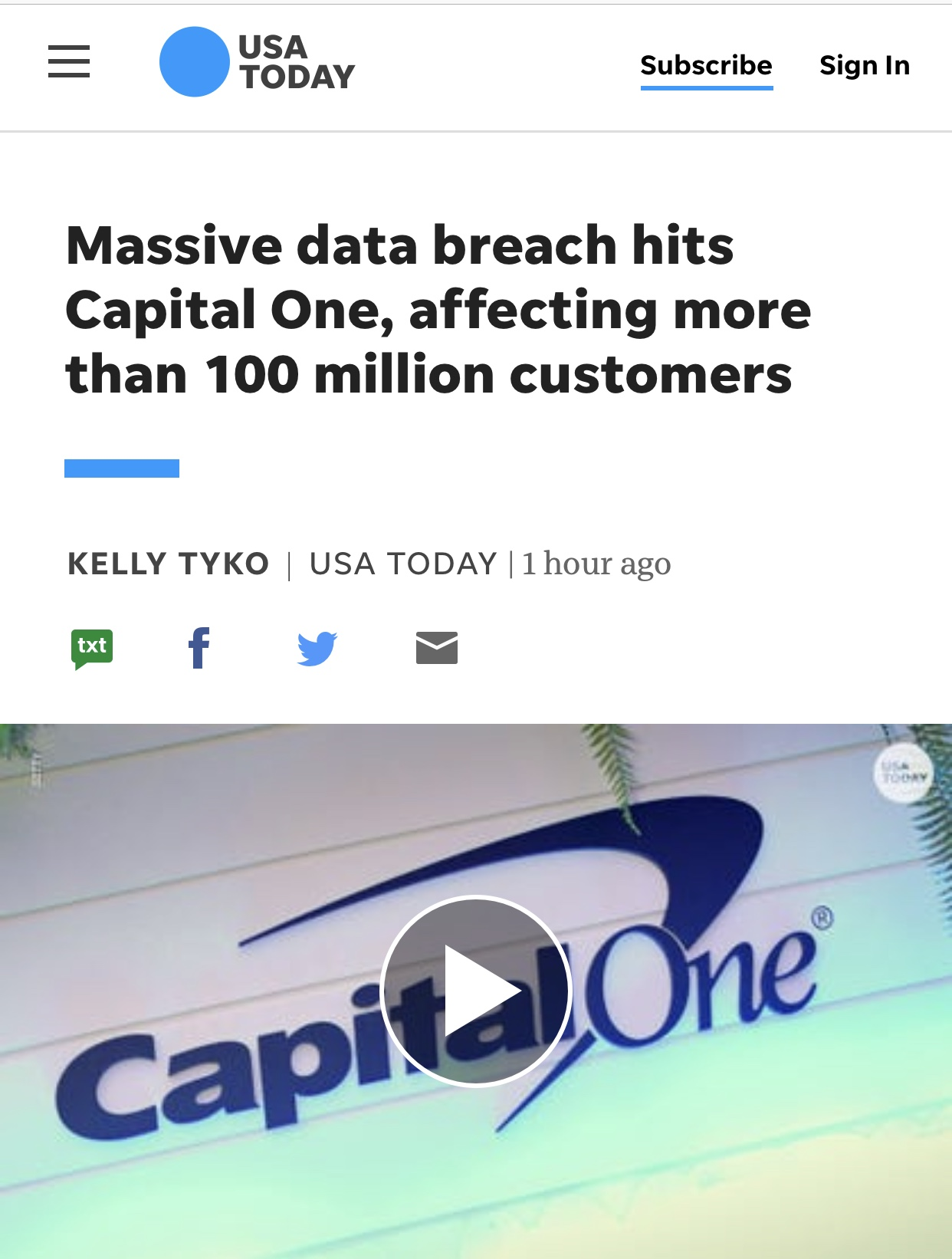 Massive data breach hits Capital One, affecting more than 100 million customers