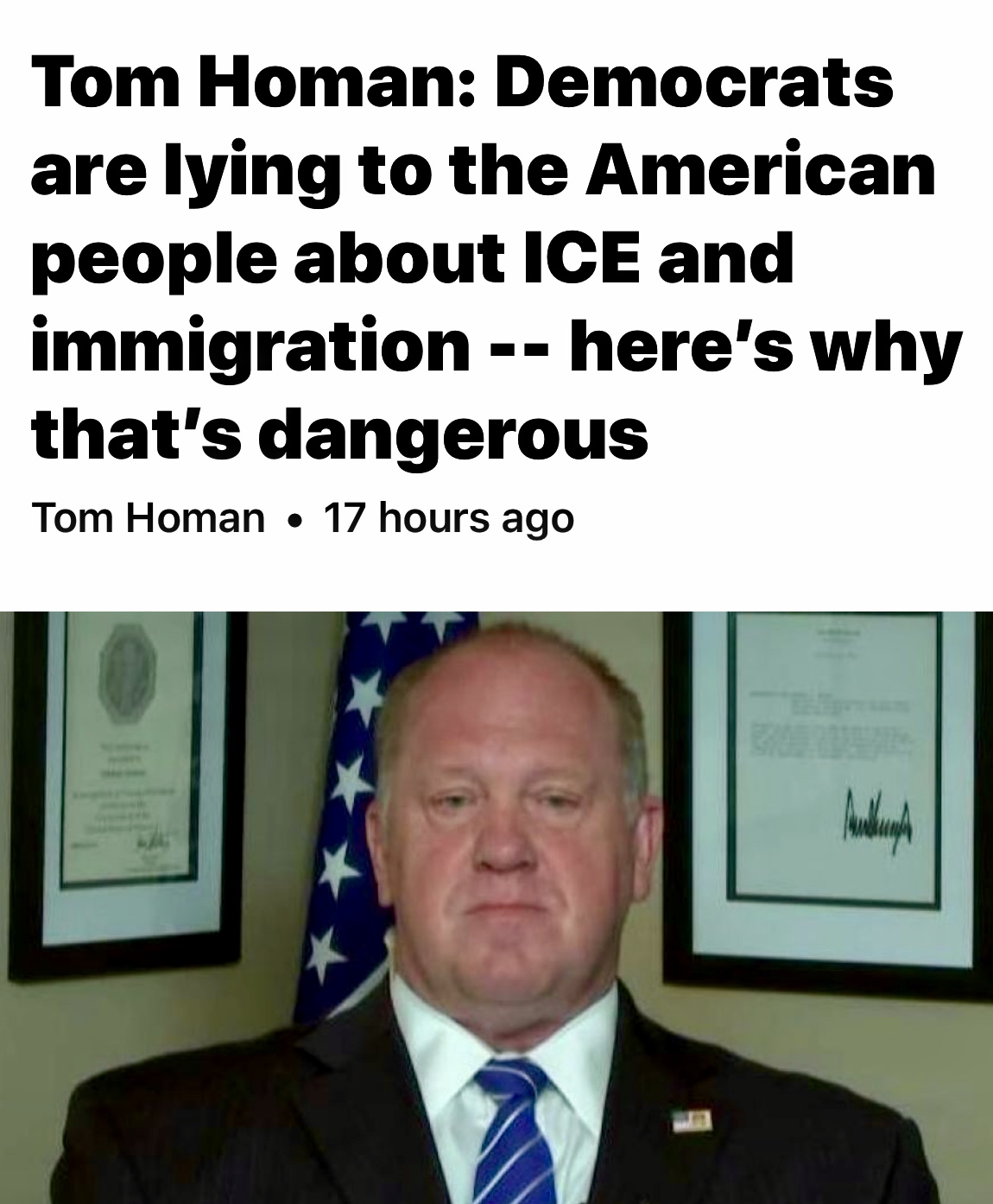 Tom Homan: Democrats are lying to the American people about ICE and immigration — here's why that's dangerous | Fox News