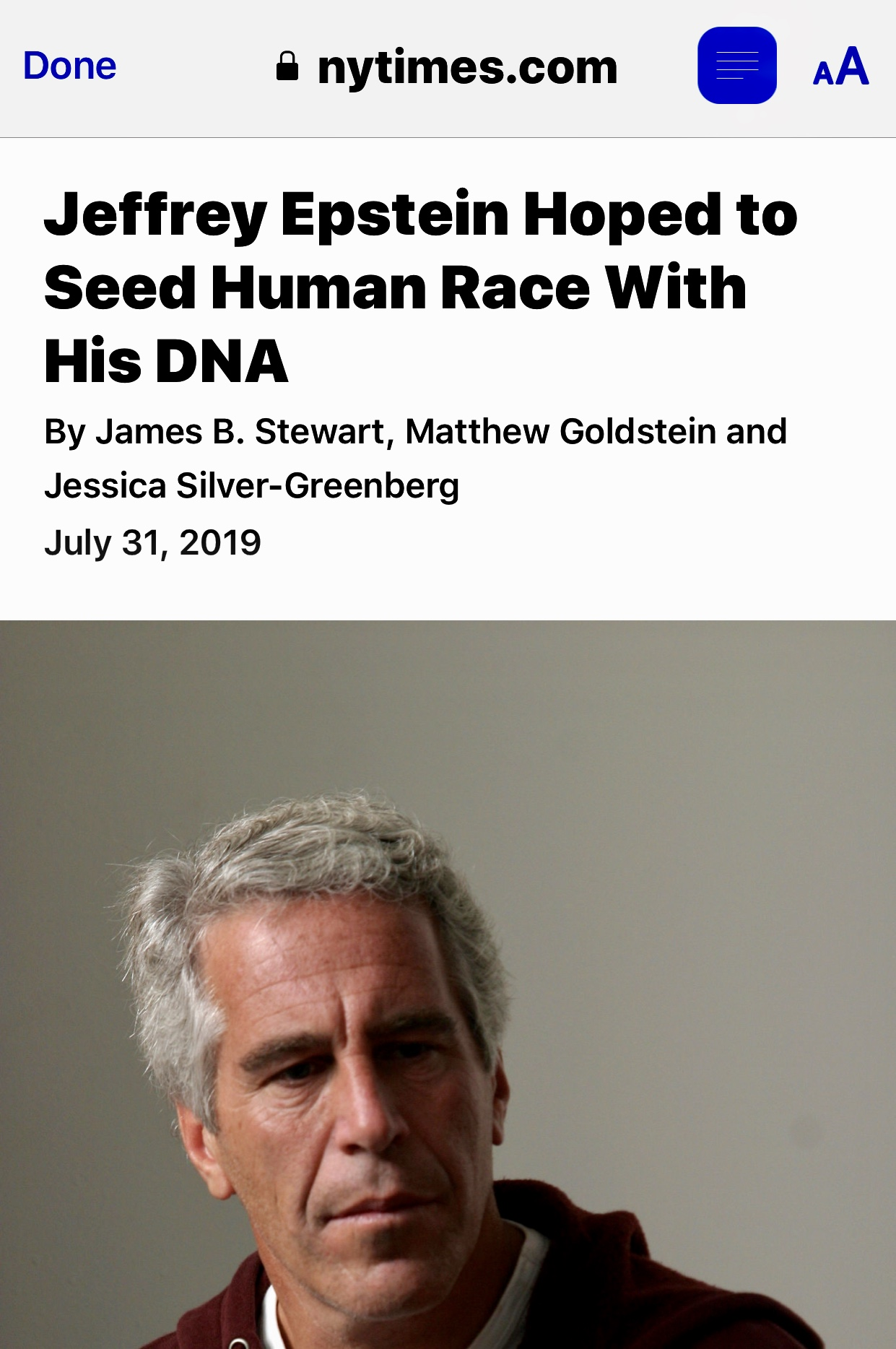Jeffrey Epstein Hoped to Seed Human Race With His DNA – The New York Times