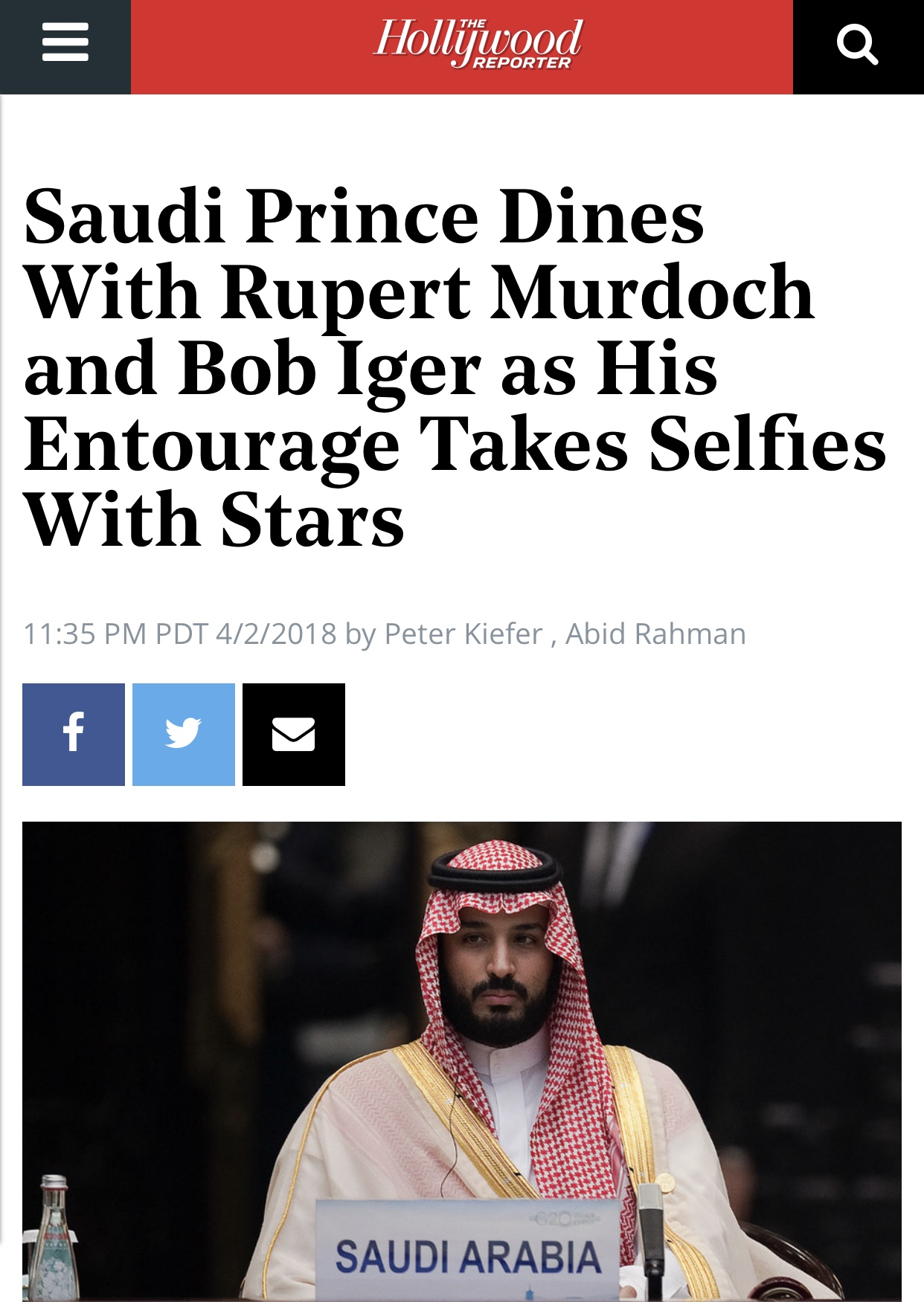 Saudi Prince Dines With Rupert Murdoch | Hollywood Reporter