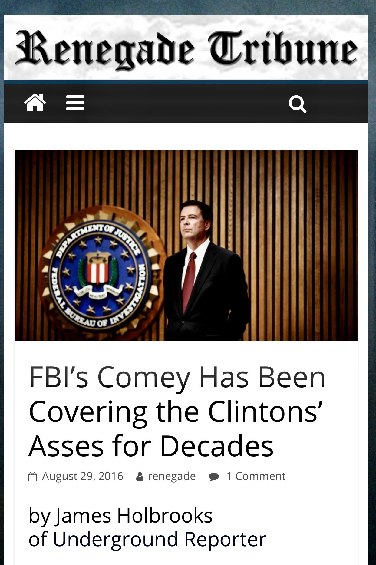 FBI's Comey Has Been Covering the Clintons' Asses for Decades