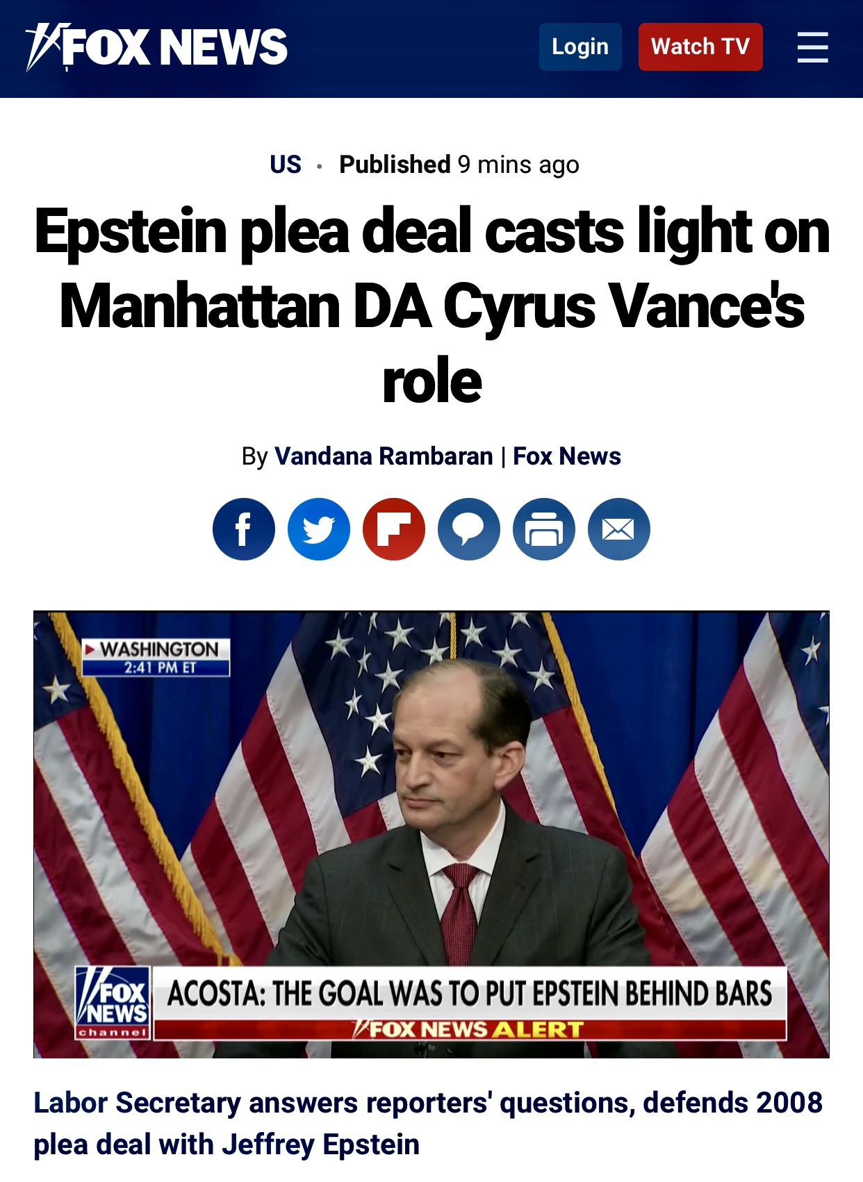 Epstein plea deal casts light on Manhattan DA Cyrus Vance's role | Fox News