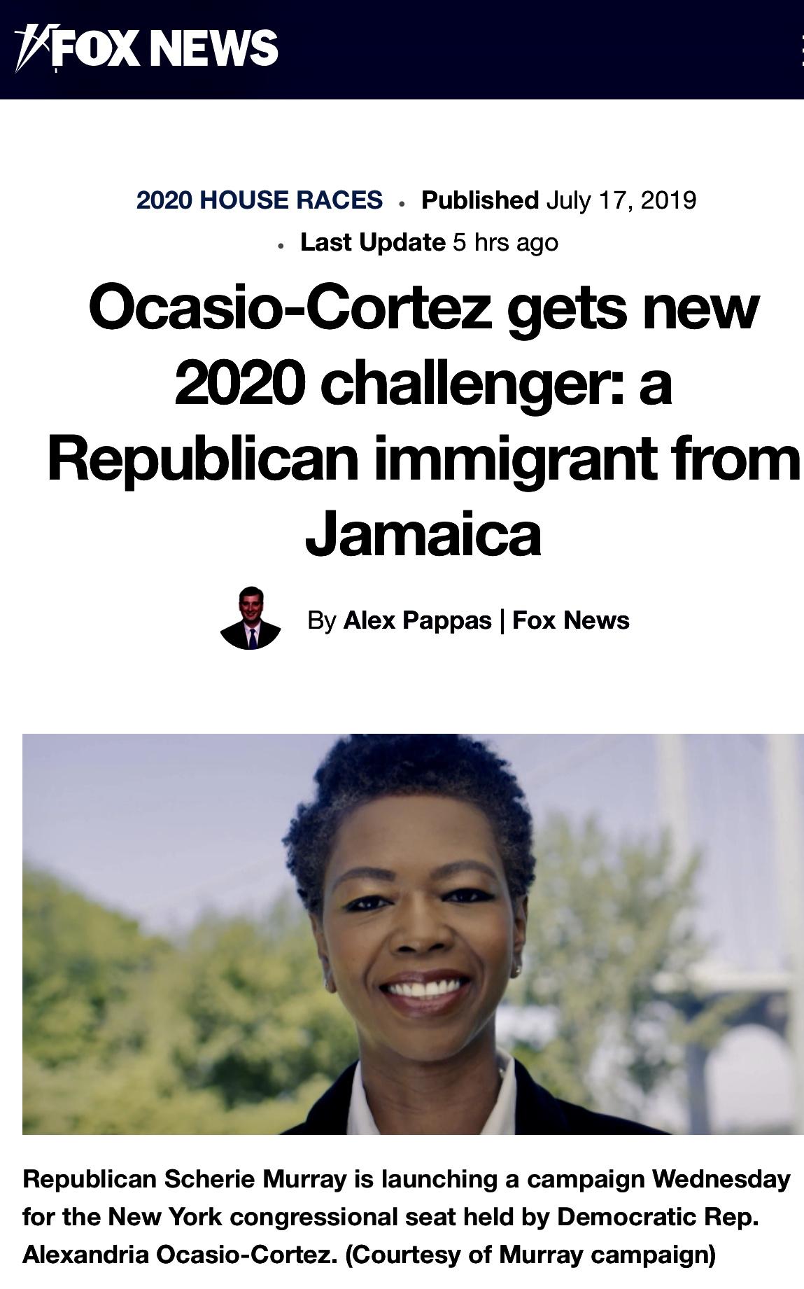 Ocasio-Cortez gets new 2020 challenger: Scherie Murray a Republican immigrant from Jamaica | Fox News