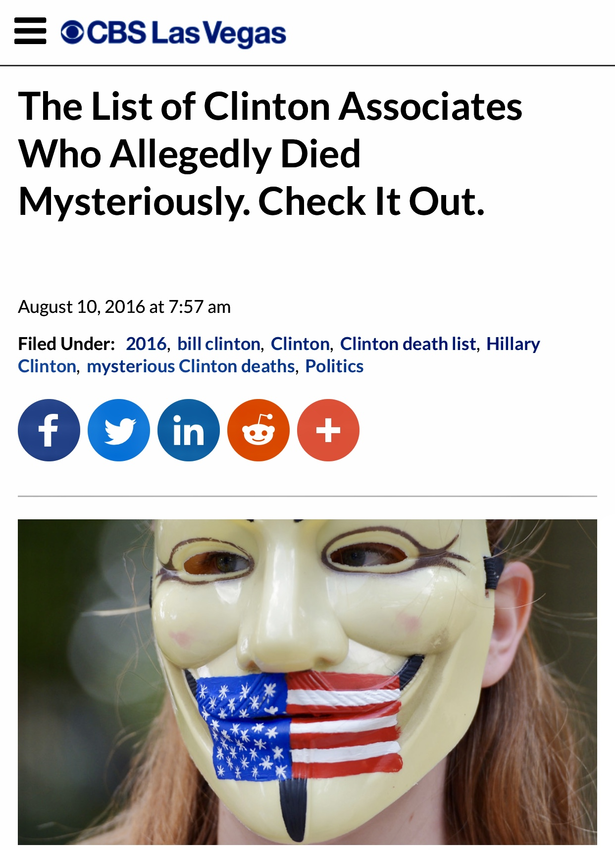CBS Updated List of Clinton Associates Who Allegedly Died Mysteriously 496 Reads