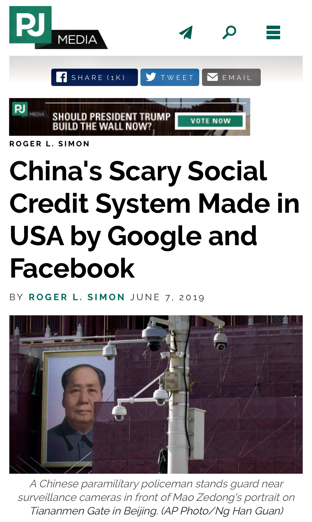 China's Scary Social Credit System Made in USA by Google and Facebook | Roger L. Simon 547 Views