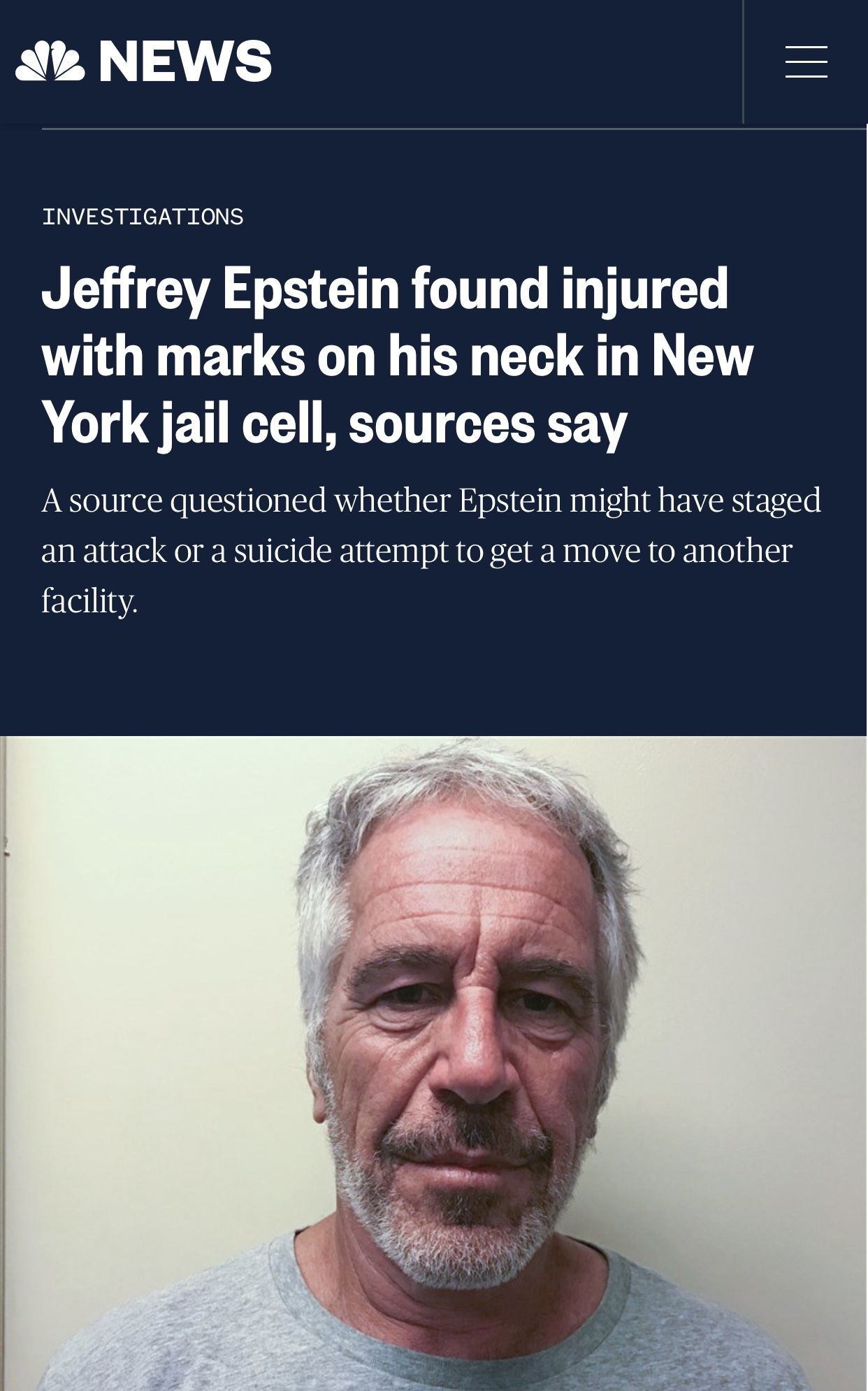 Jeffrey Epstein found injured with marks on his neck in New York jail cell, sources say