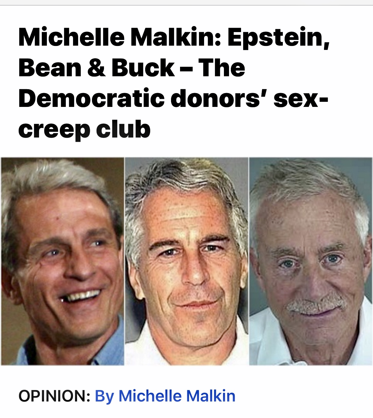 Michelle Malkin: Epstein, Bean & Buck – The Democratic donors' sex-creep club