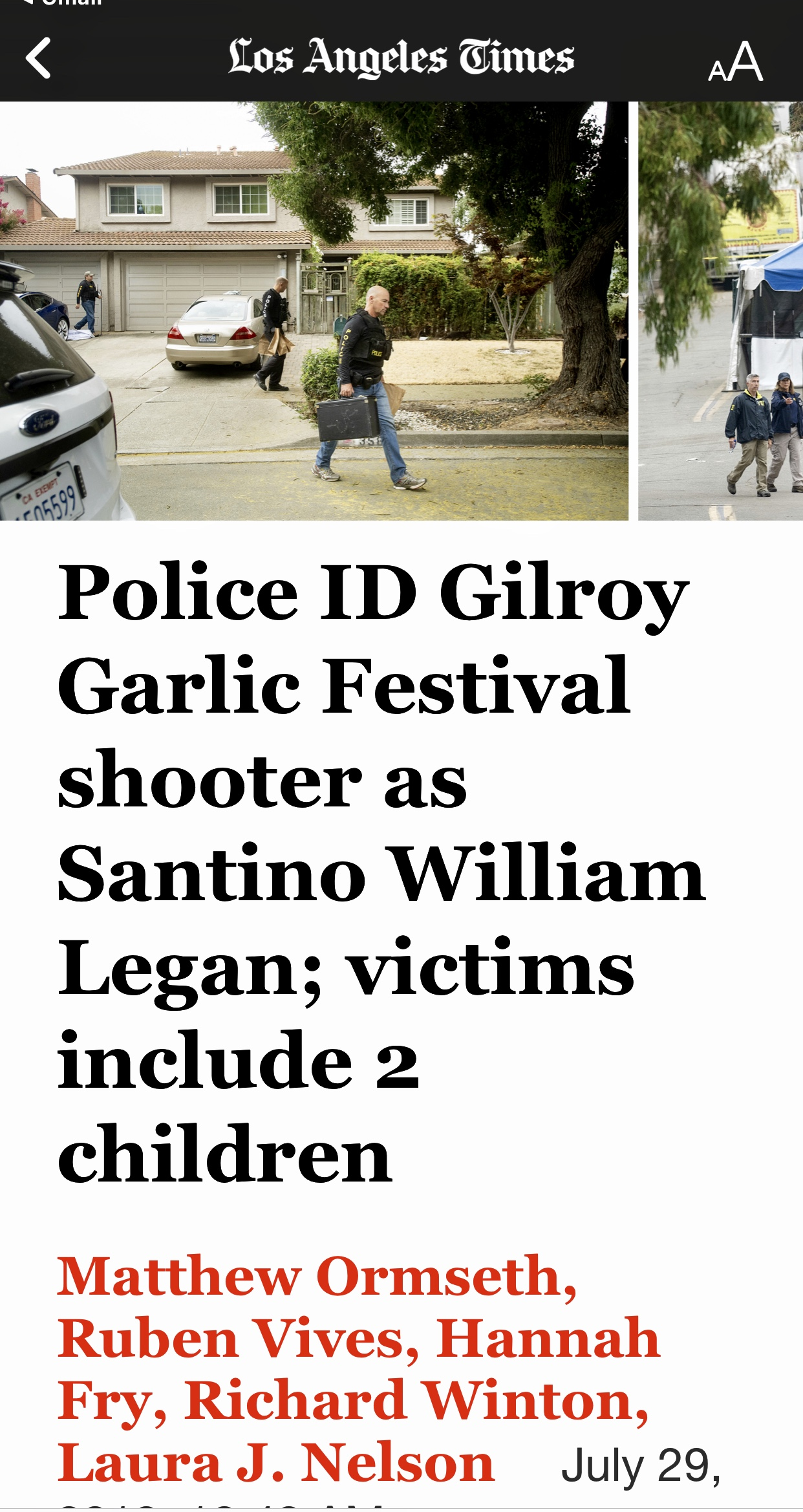 Police ID Gilroy Garlic Festival shooter as Santino William Legan; victims include 2 children