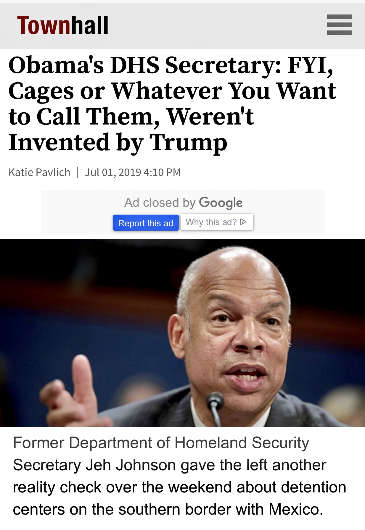 Obama's DHS Secretary: FYI, Cages or Whatever You Want to Call Them, Weren't Invented by Trump