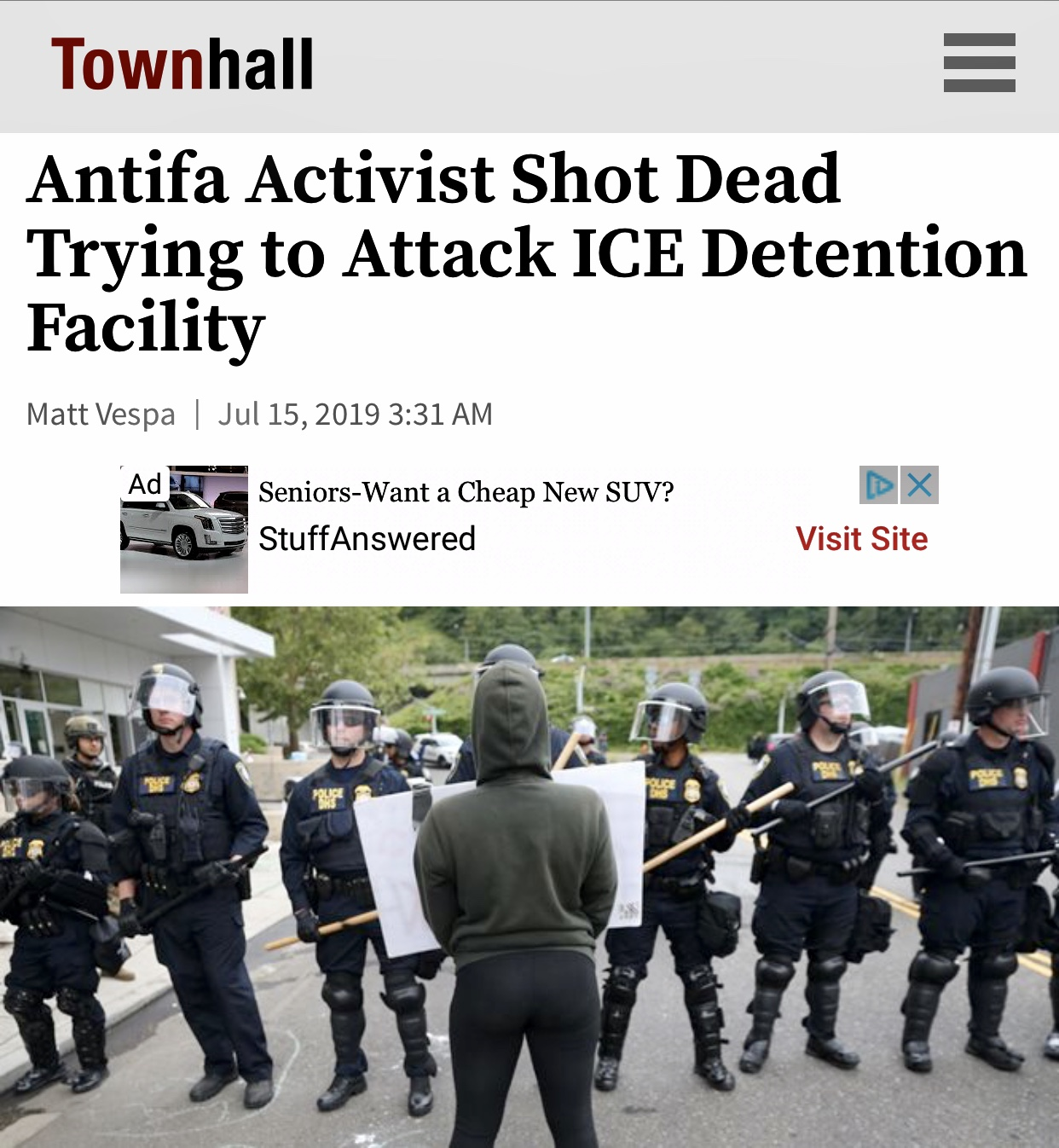 Antifa Activist Shot Dead Trying to Attack ICE Detention Facility