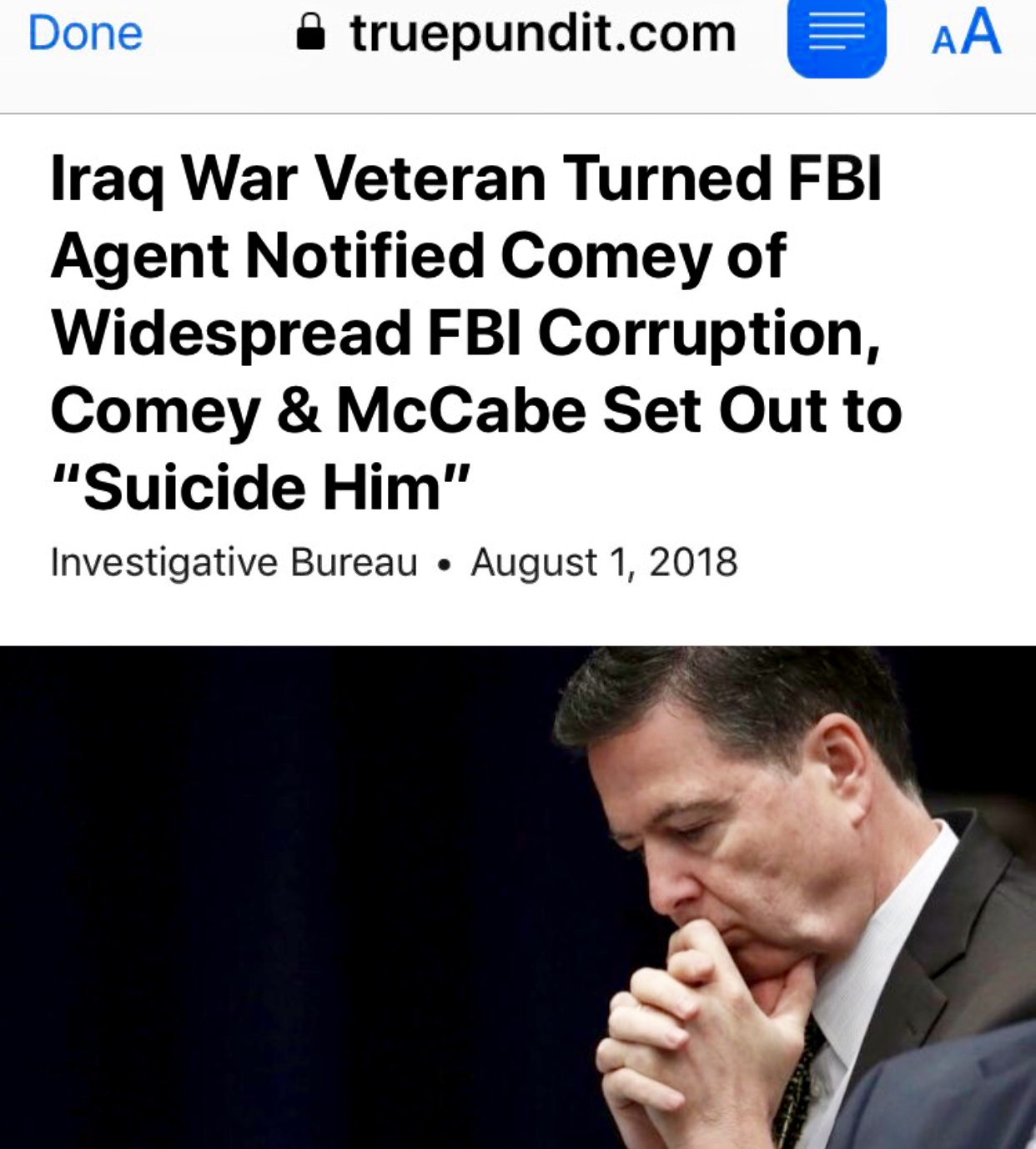 "Iraq War Veteran Turned FBI Agent Notified Comey of Widespread FBI Corruption, Comey & McCabe Set Out to ""Suicide Him"" – True Pundit"