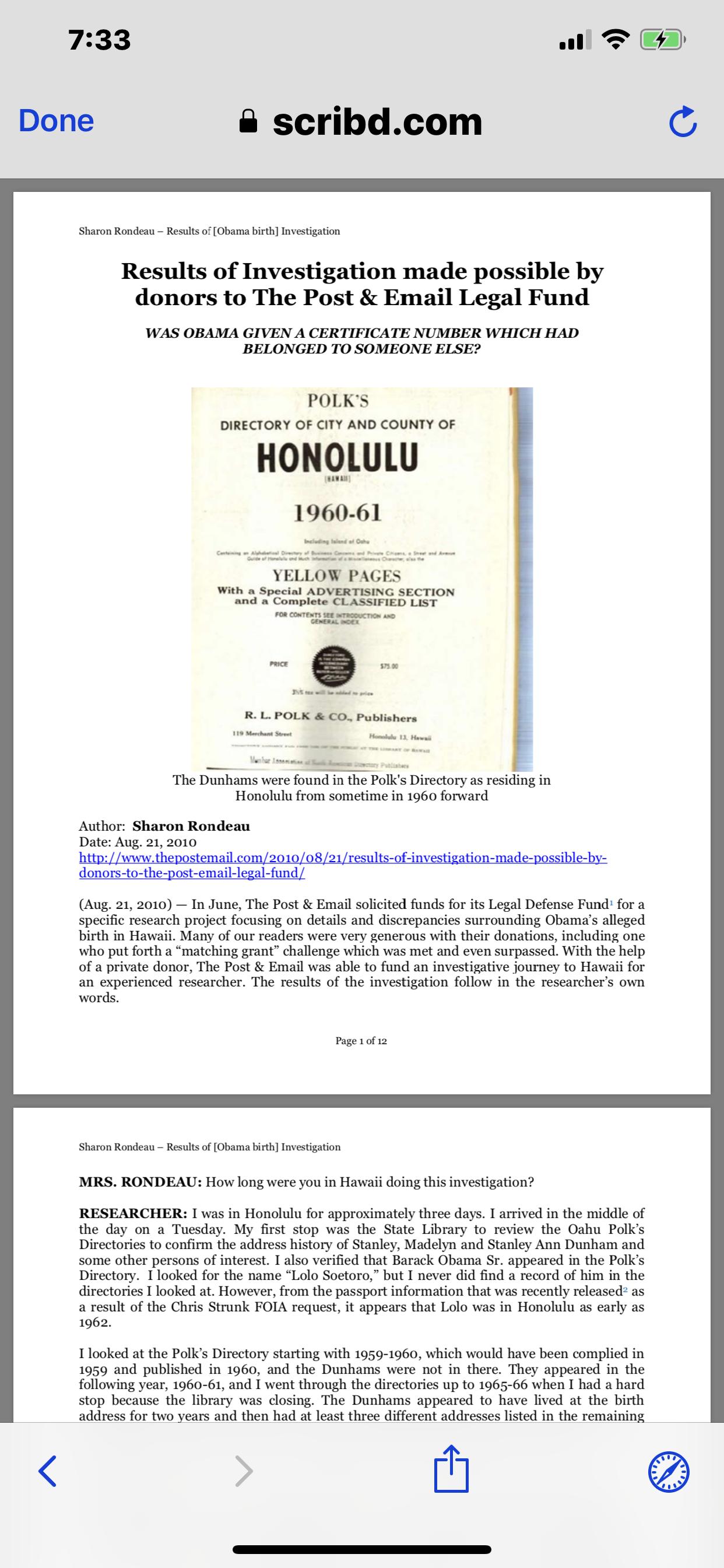 Sharon Rondeau Results of Obama Birth Investigation   Birth Certificate