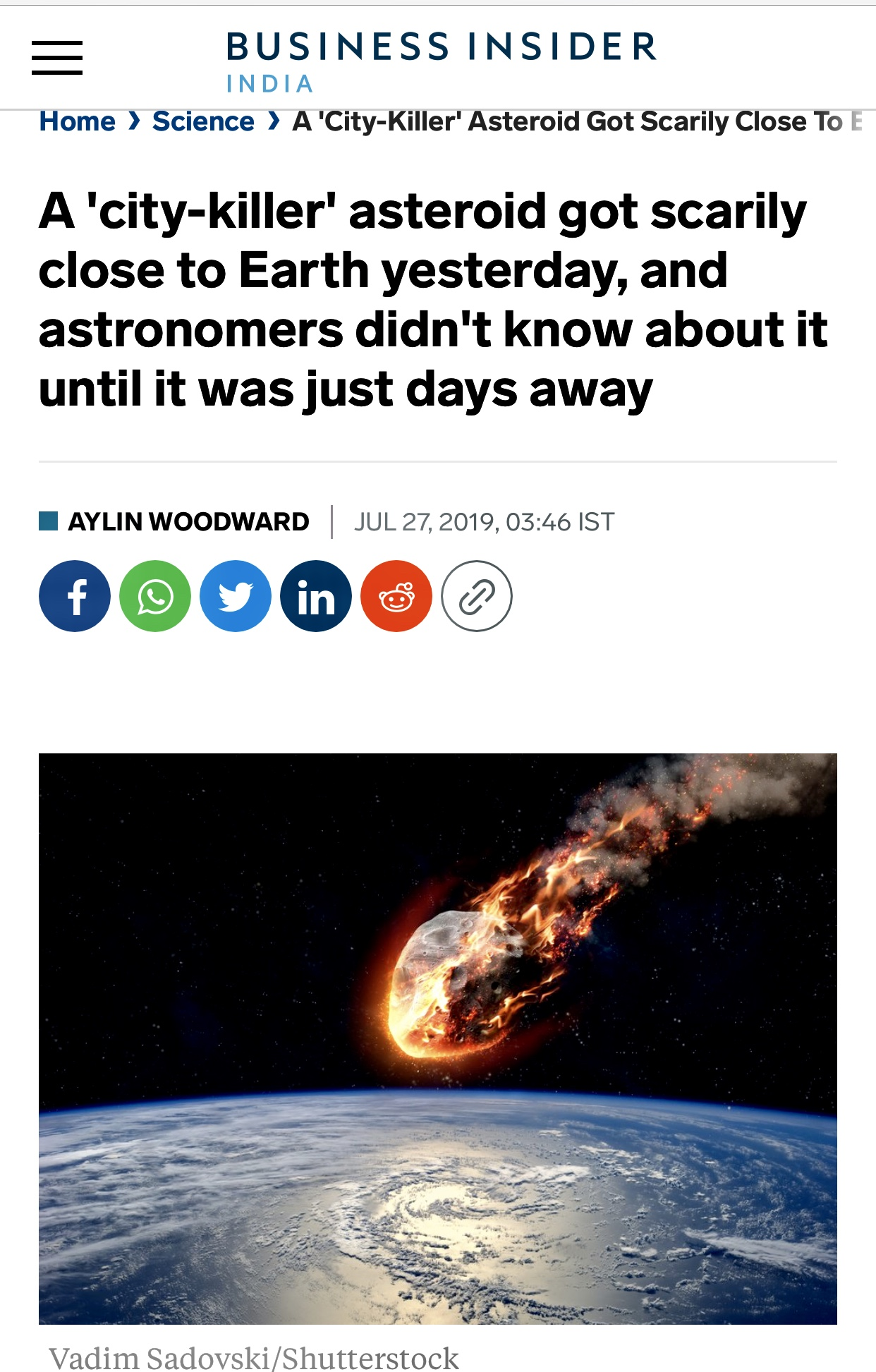 A 'city-killer' asteroid got scarily close to Earth yesterday, and astronomers didn't know about it until it was just days away   Business Insider India