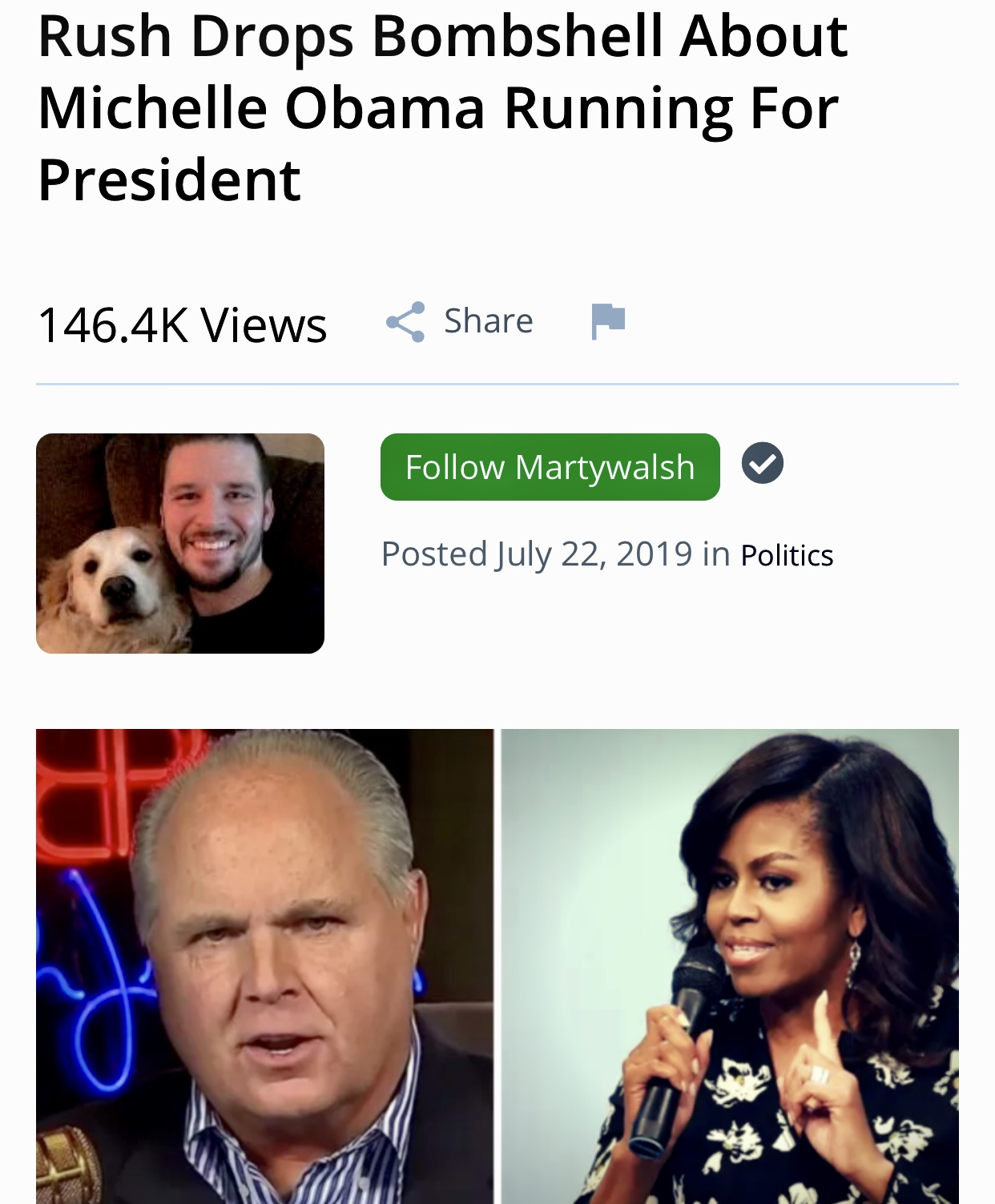 Rush Drops Bombshell About Michelle Obama Running For President