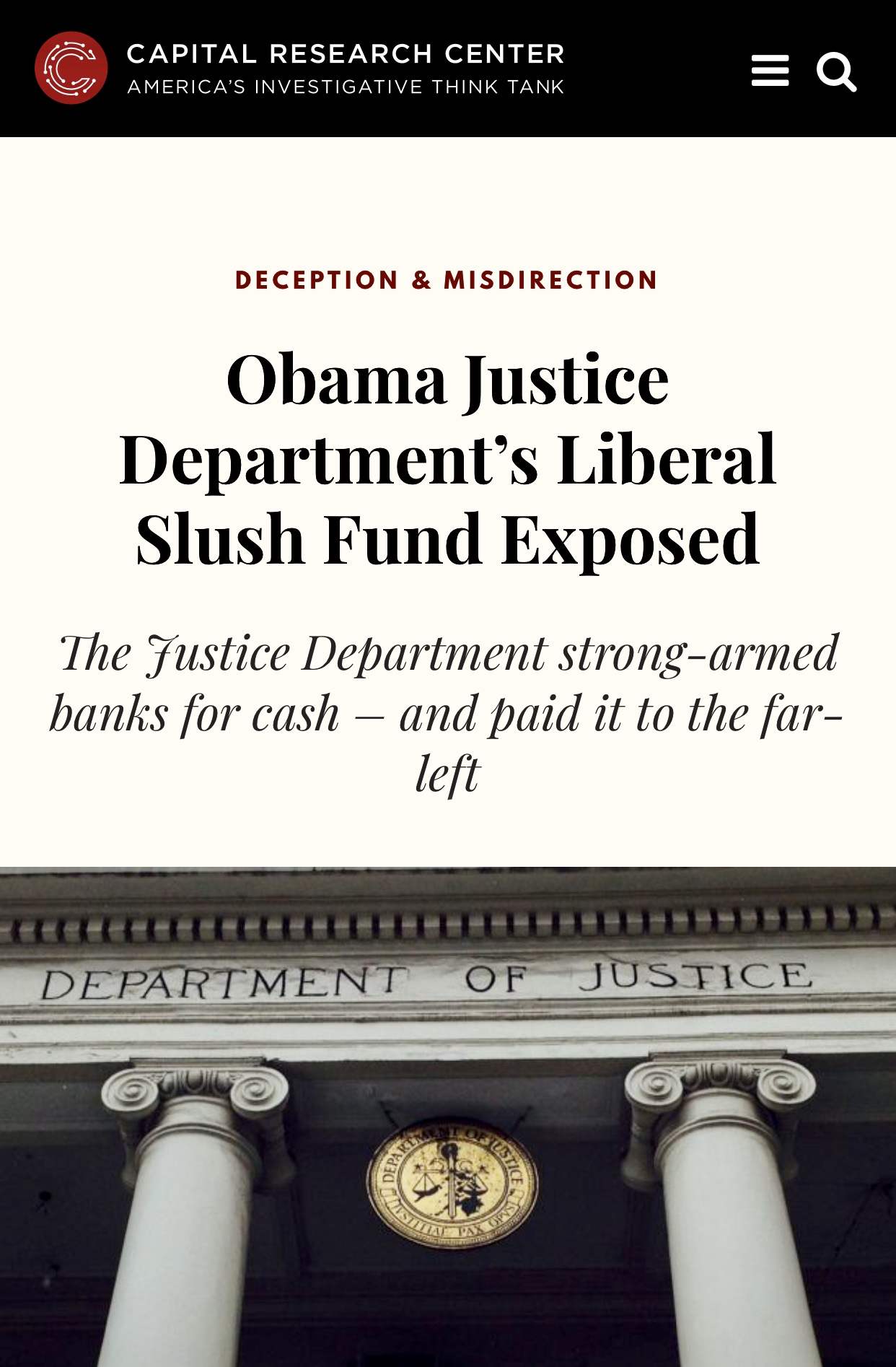 Obama Justice Department's Liberal Slush Fund Exposed – Capital Research Center