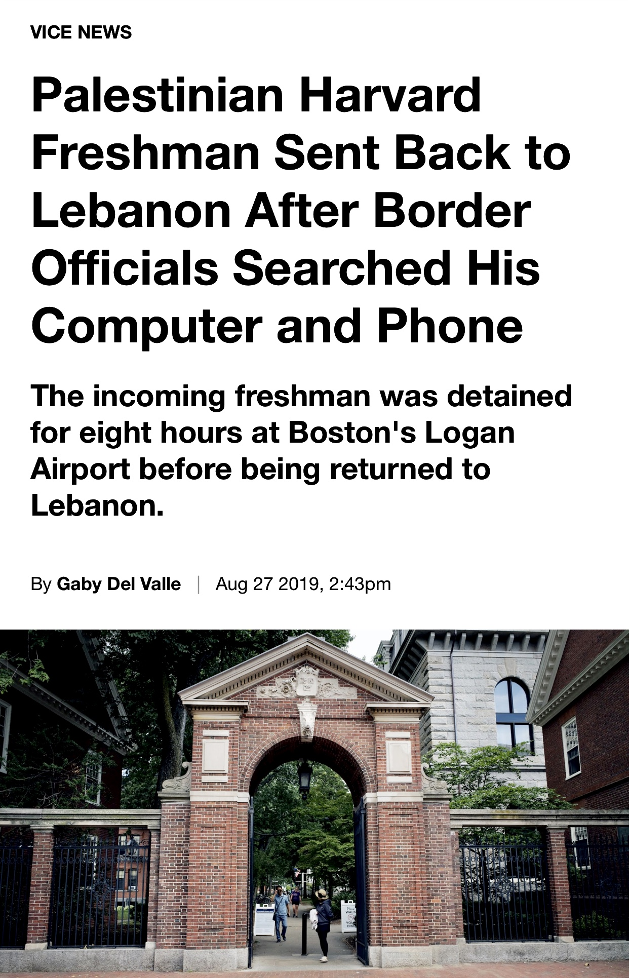 Palestinian Harvard Freshman Sent Back to Lebanon After Border Officials Searched His Computer & Phone