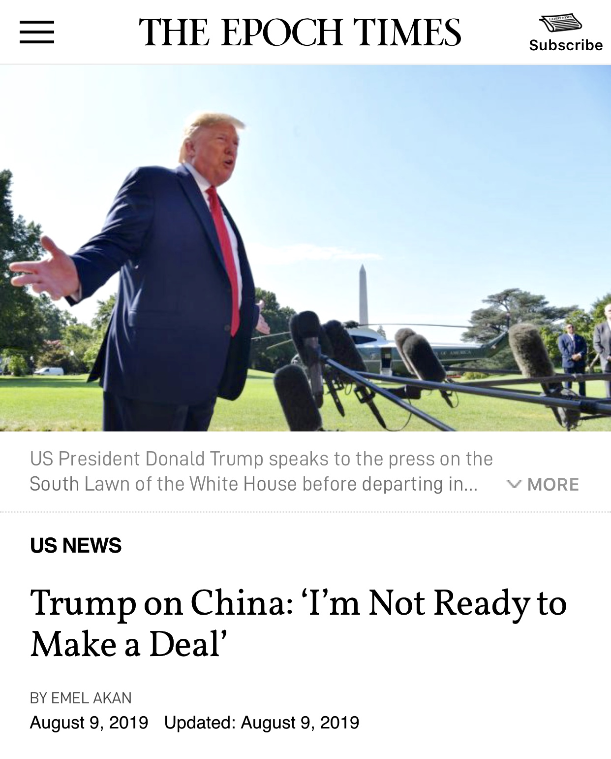 President Trump on China: 'I'm Not Ready to Make a Deal'