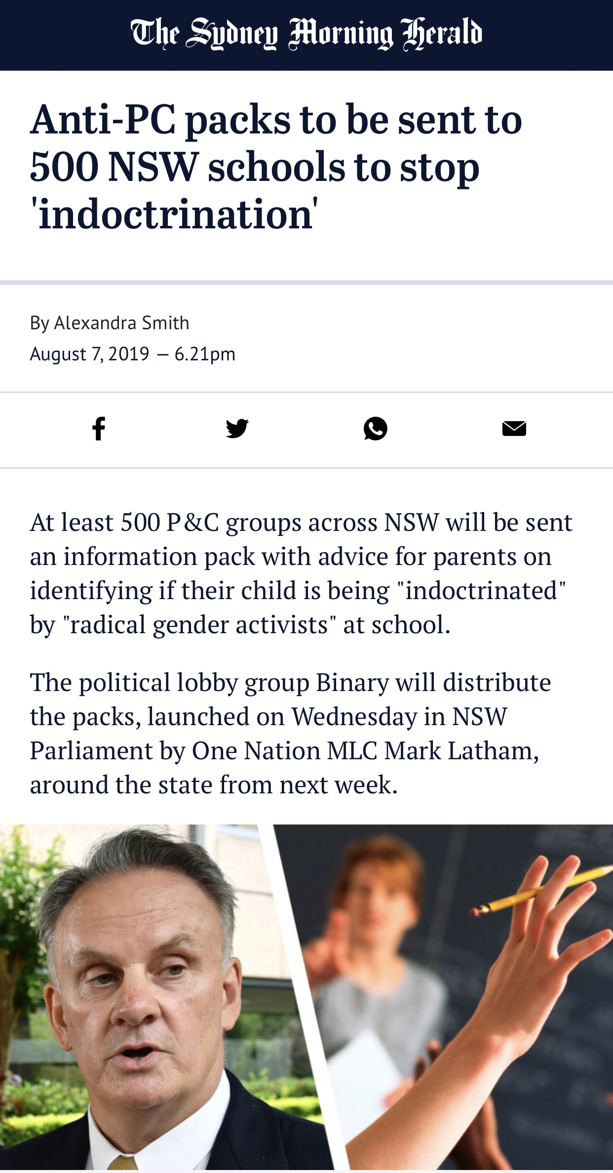 Anti-PC packs to be sent to 500 NSW schools to stop 'indoctrination'
