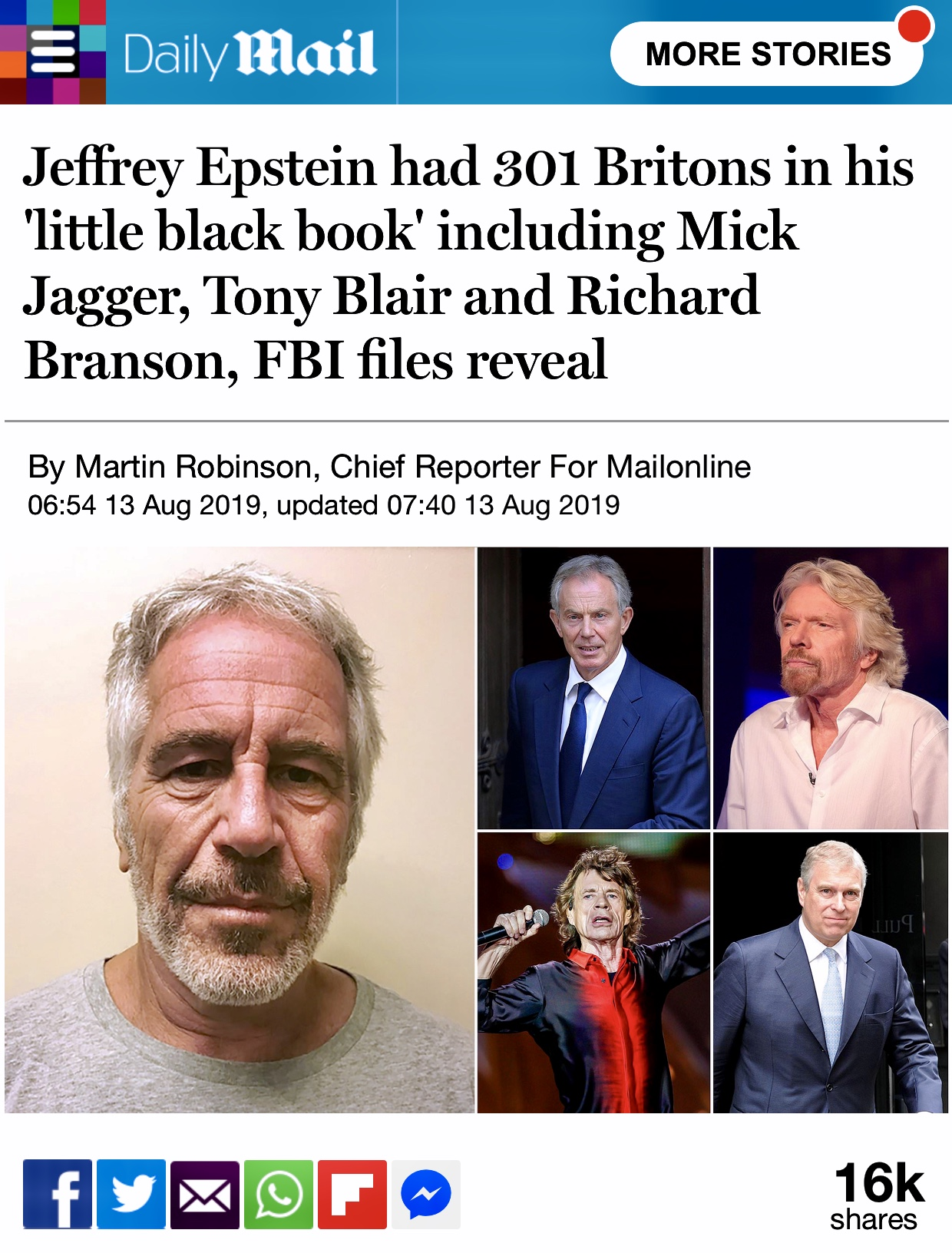 Jeffrey Epstein had 301 Britons in his 'little black book' including Jagger, Blair and Branson