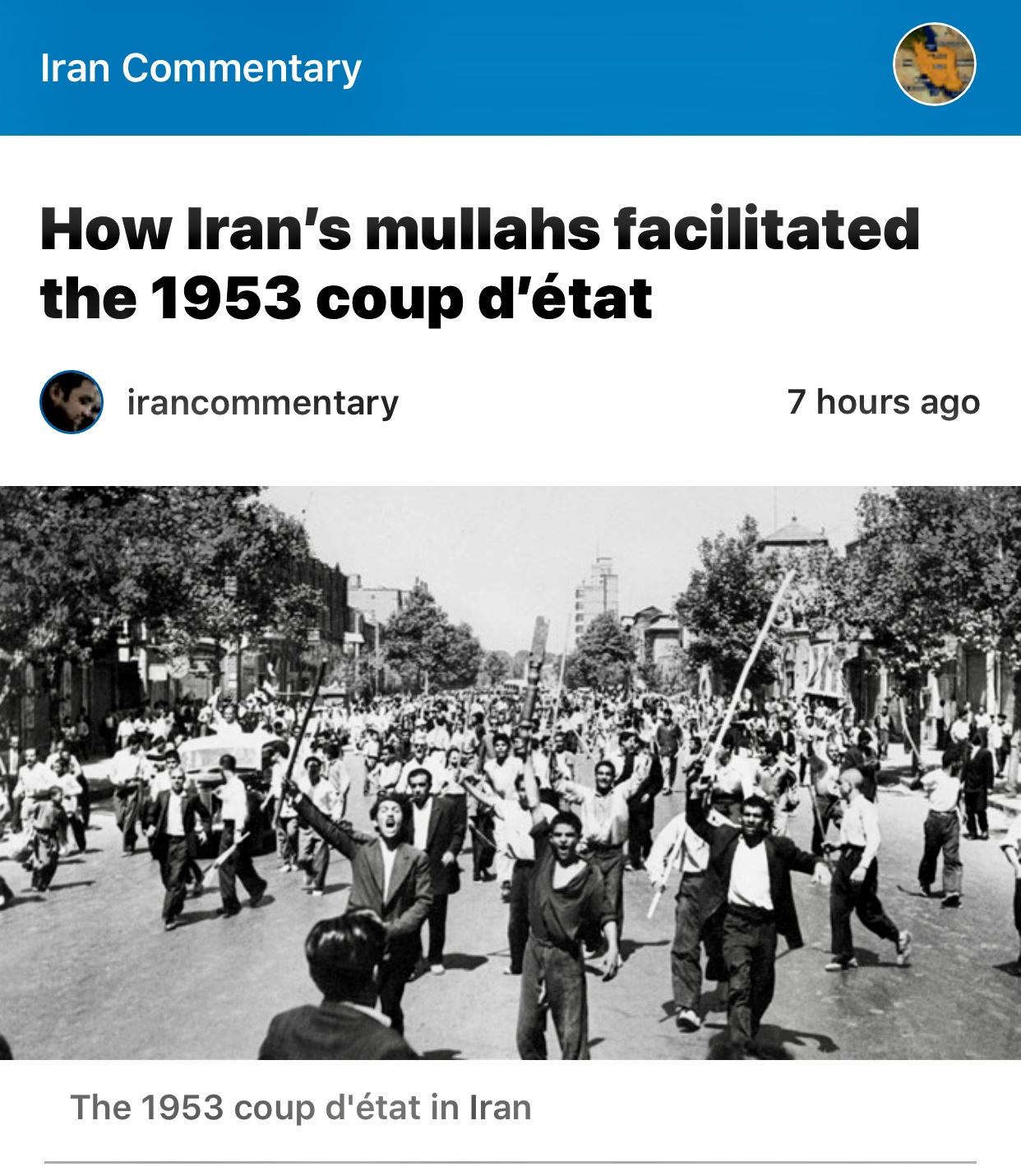 How Iran's mullahs facilitated the 1953 coup d'état – Iran Commentary