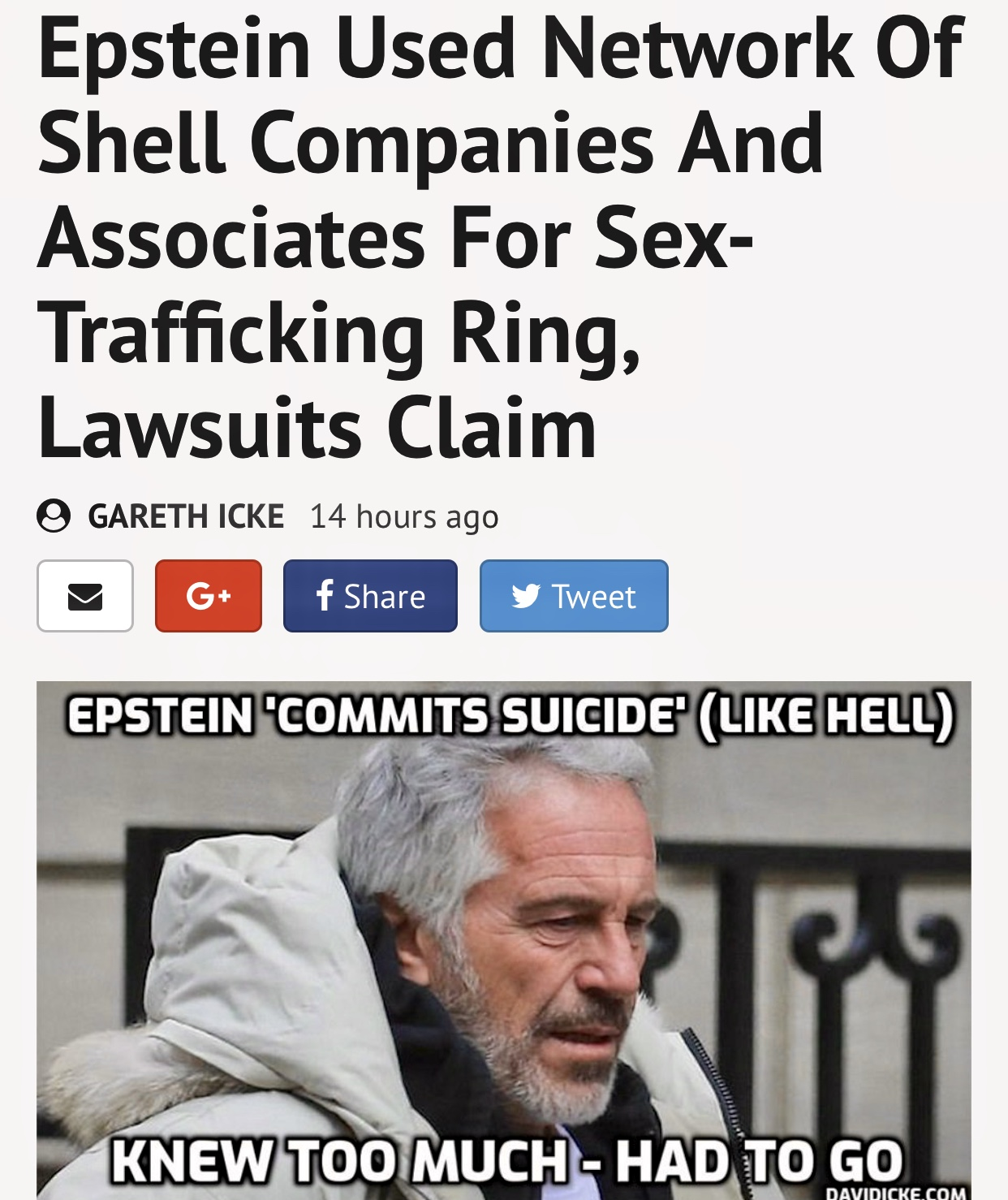 David Icke   Epstein Used Network Of Shell Companies And Associates For Sex-Trafficking Ring, Lawsuits Claim