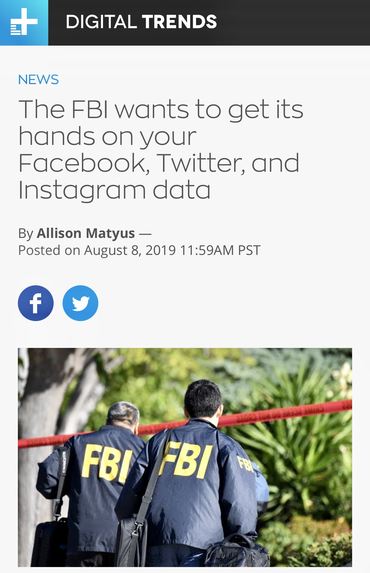 FBI Wants to Collect Social Media Data From Instagram, Facebook, and Twitter | Digital Trends