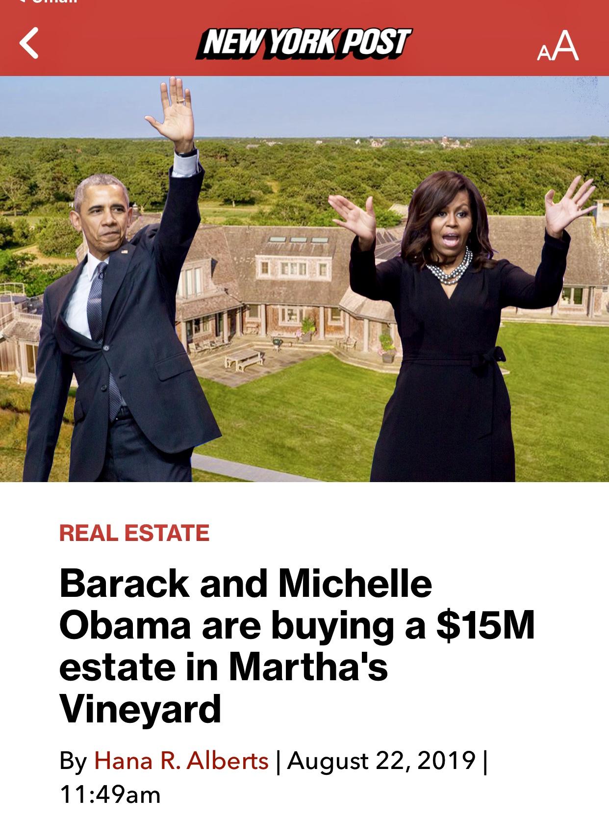 Barack and Michelle Obama buying $14.85M Martha's Vineyard estate