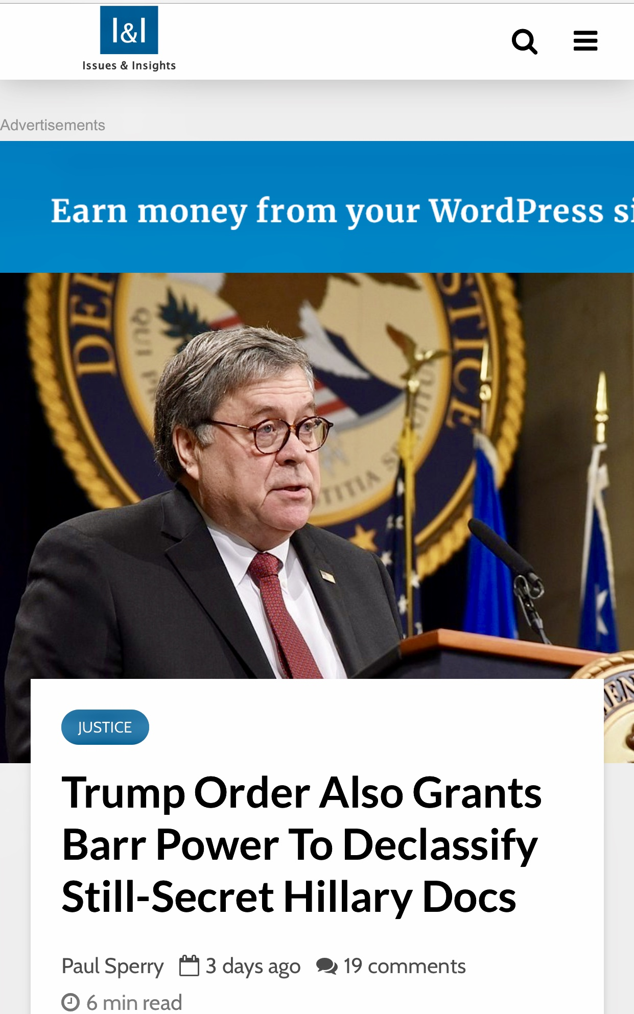 President Trump Order Also Grants Barr Power To Declassify Still-Secret Hillary Docs – Issues & Insights