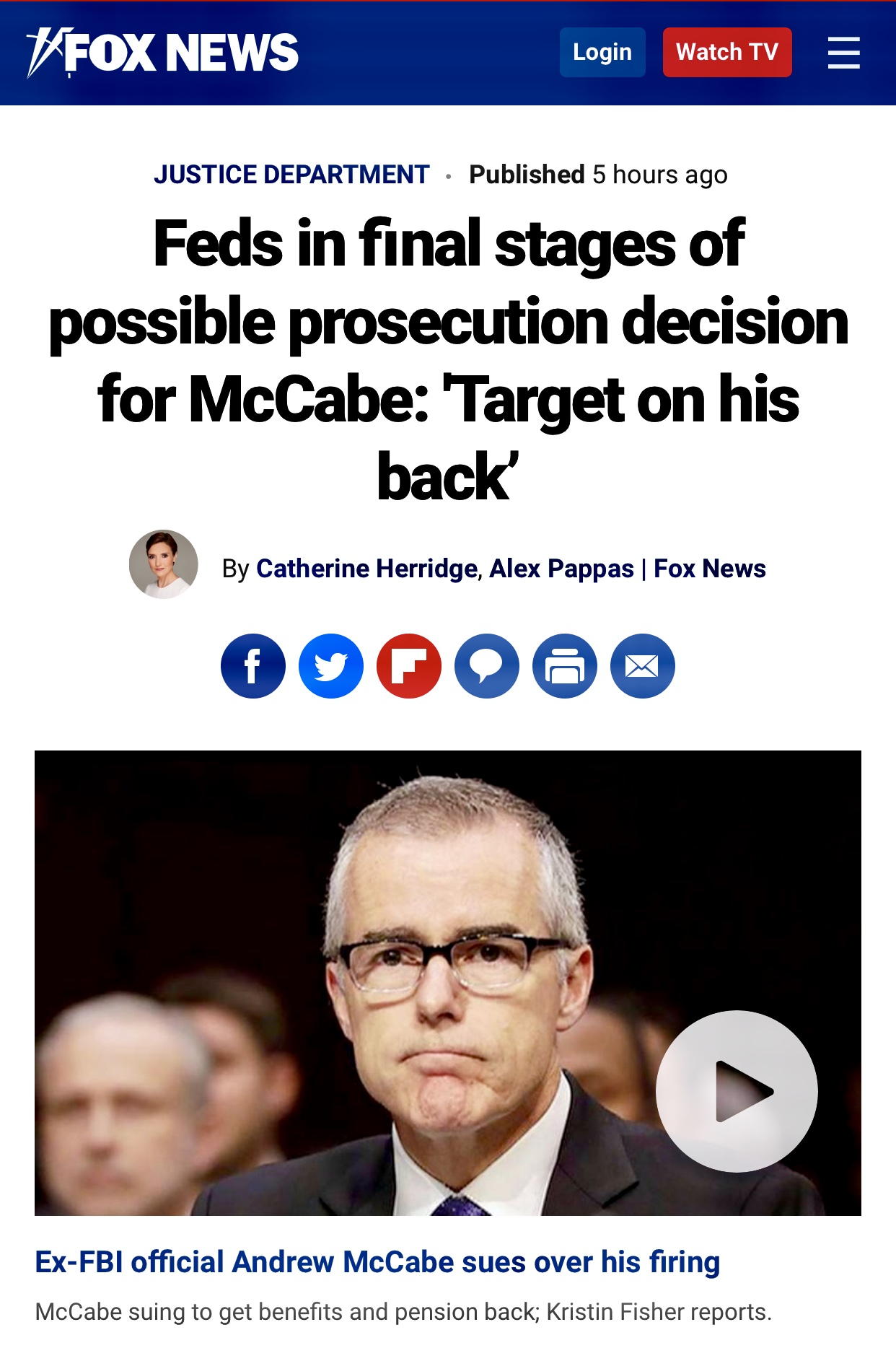 Possible Indictment of Former FBI Acting Deputy Director Andrew McCabe