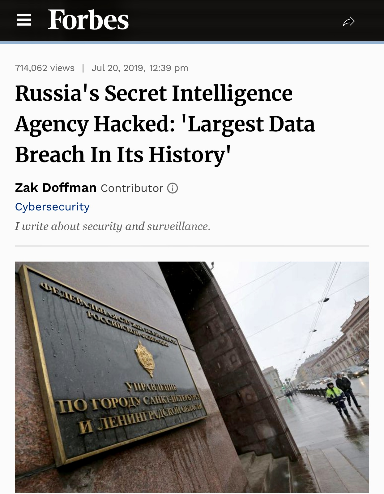 Russia's Secret Intelligence Agency Hacked: 'Largest Data Breach In Its History'
