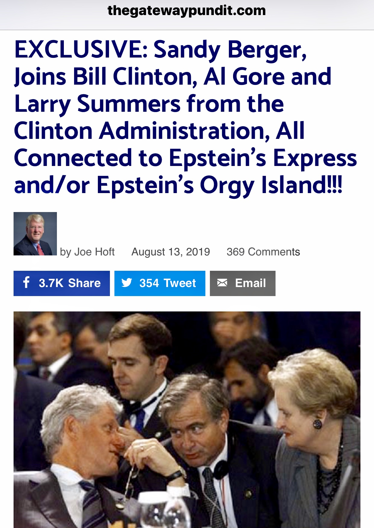 EXCLUSIVE: Sandy Berger, Joins Bill Clinton, Al Gore and Larry Summers from the Clinton Administration, All Connected to Epstein's Express and/or Epstein's Orgy Island!!!