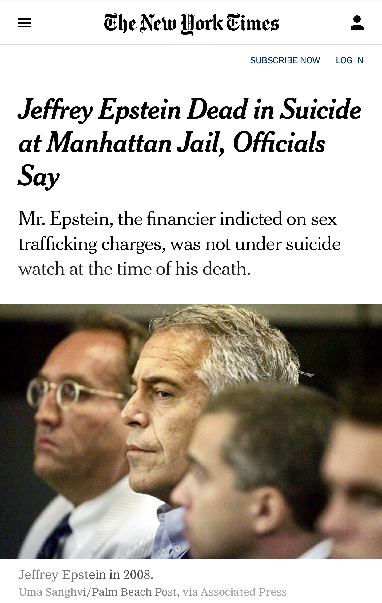 Jeffrey Epstein Dead in Suicide at Manhattan Jail, Officials Say – The New York Times