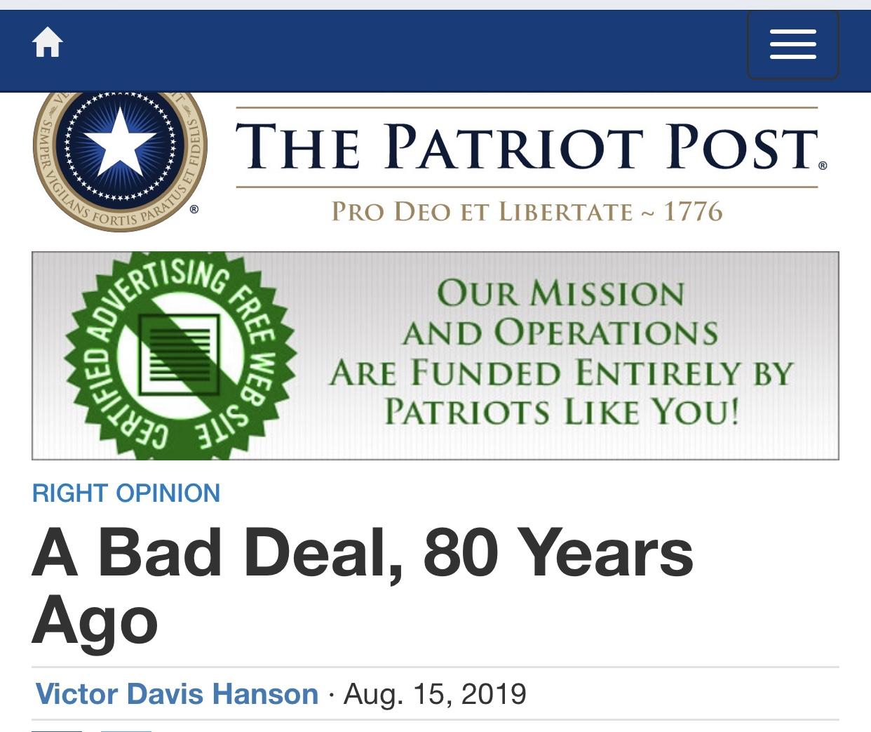 Victor Davis Hanson: A Bad Deal, 80 Years Ago — The Patriot Post