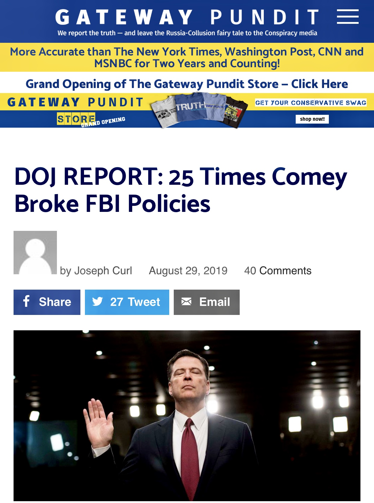 DOJ REPORT: 25 Times Comey Broke FBI Policies