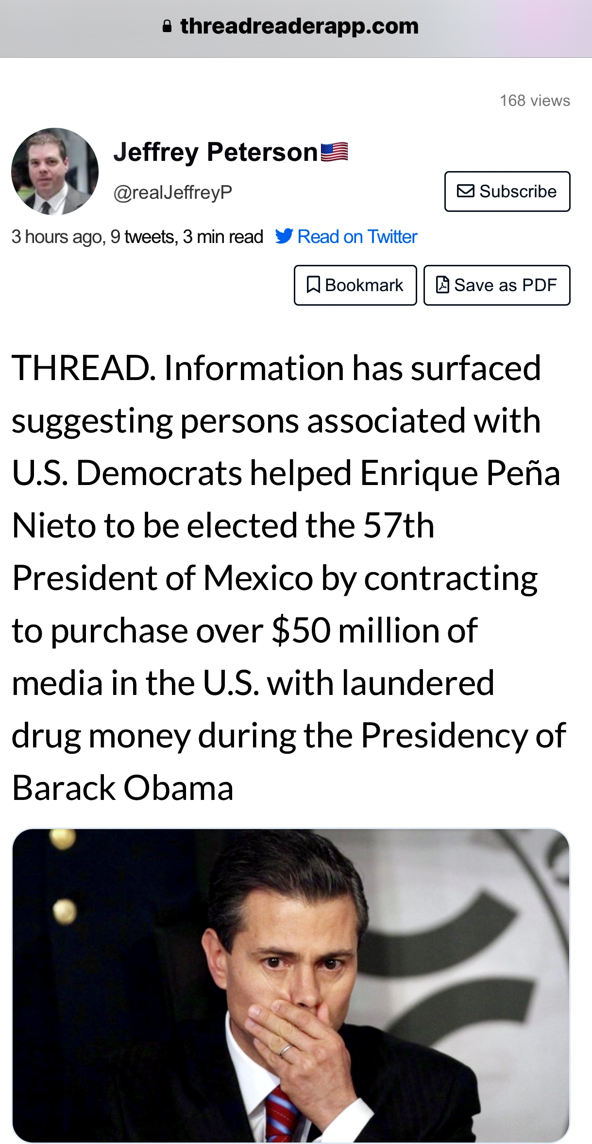 "Thread by @realJeffreyP: ""THREAD. Information has surfaced suggesting persons associated with U.S. Democrats helped Enrique Peña Nieto to be elected the 57th Presiden […]"""
