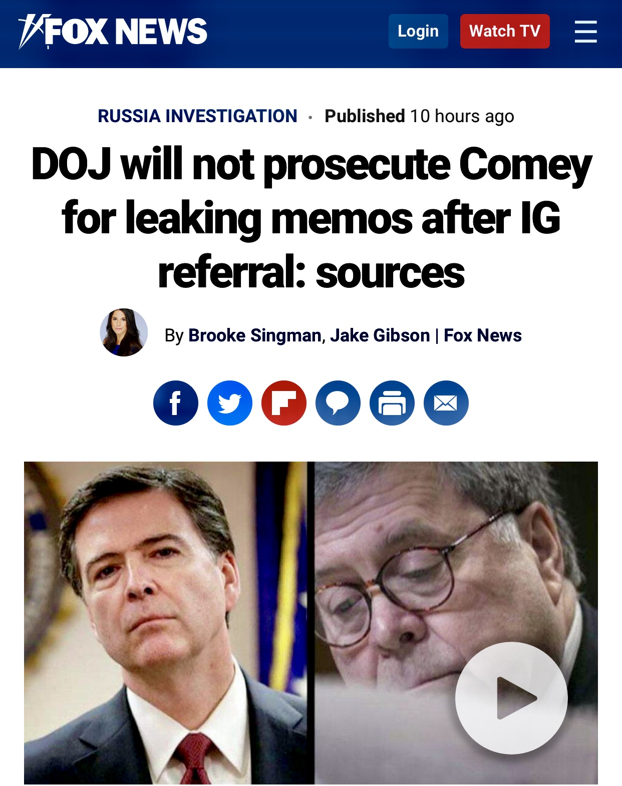 DOJ will not prosecute Comey for leaking memos after IG referral: sources | Fox News 130 Reads
