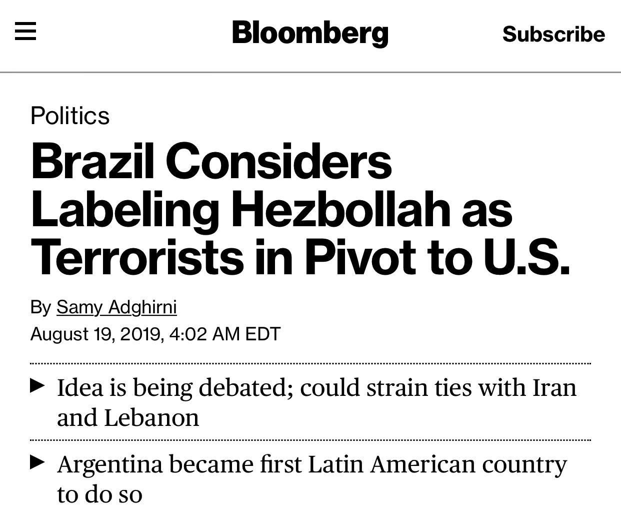 Brazil Considers Labeling Hezbollah as Terrorists in Pivot to U.S.